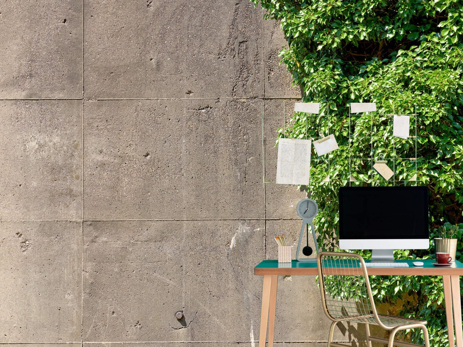 Betonlook behang - Beton met struik - Wallexclusive - Woonkamer 7
