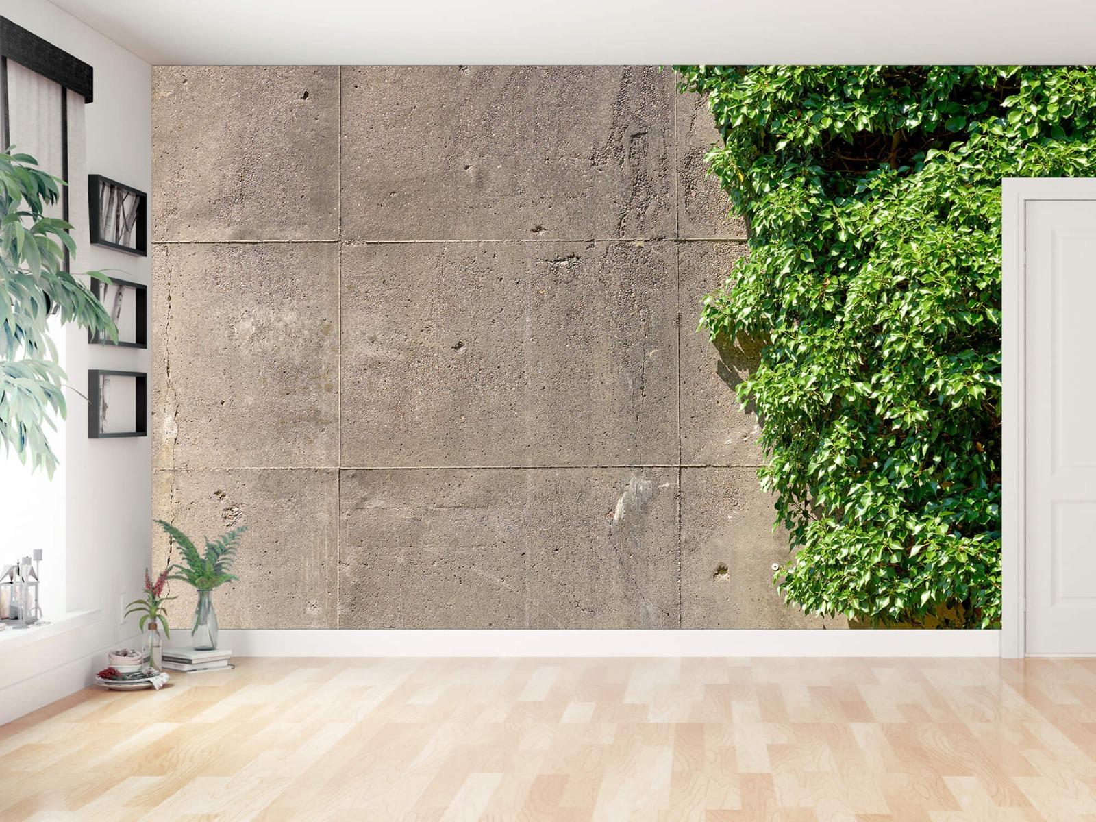 Betonlook behang - Beton met struik - Wallexclusive - Woonkamer 11