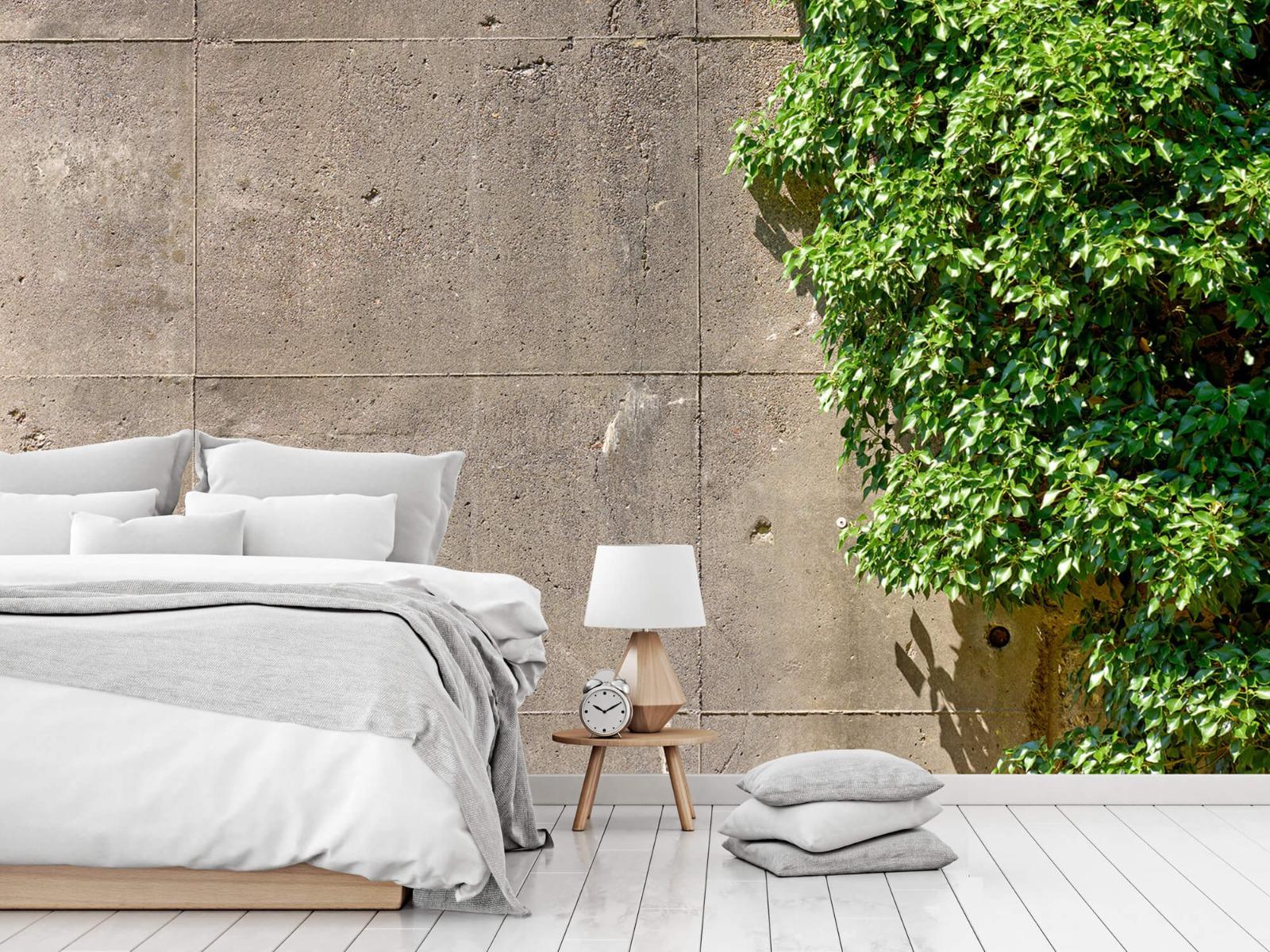 Betonlook behang - Beton met struik - Wallexclusive - Woonkamer 14