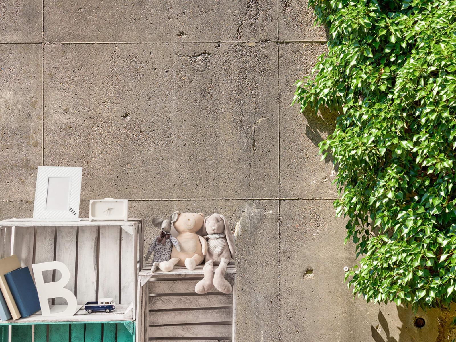 Betonlook behang - Beton met struik - Wallexclusive - Woonkamer 19