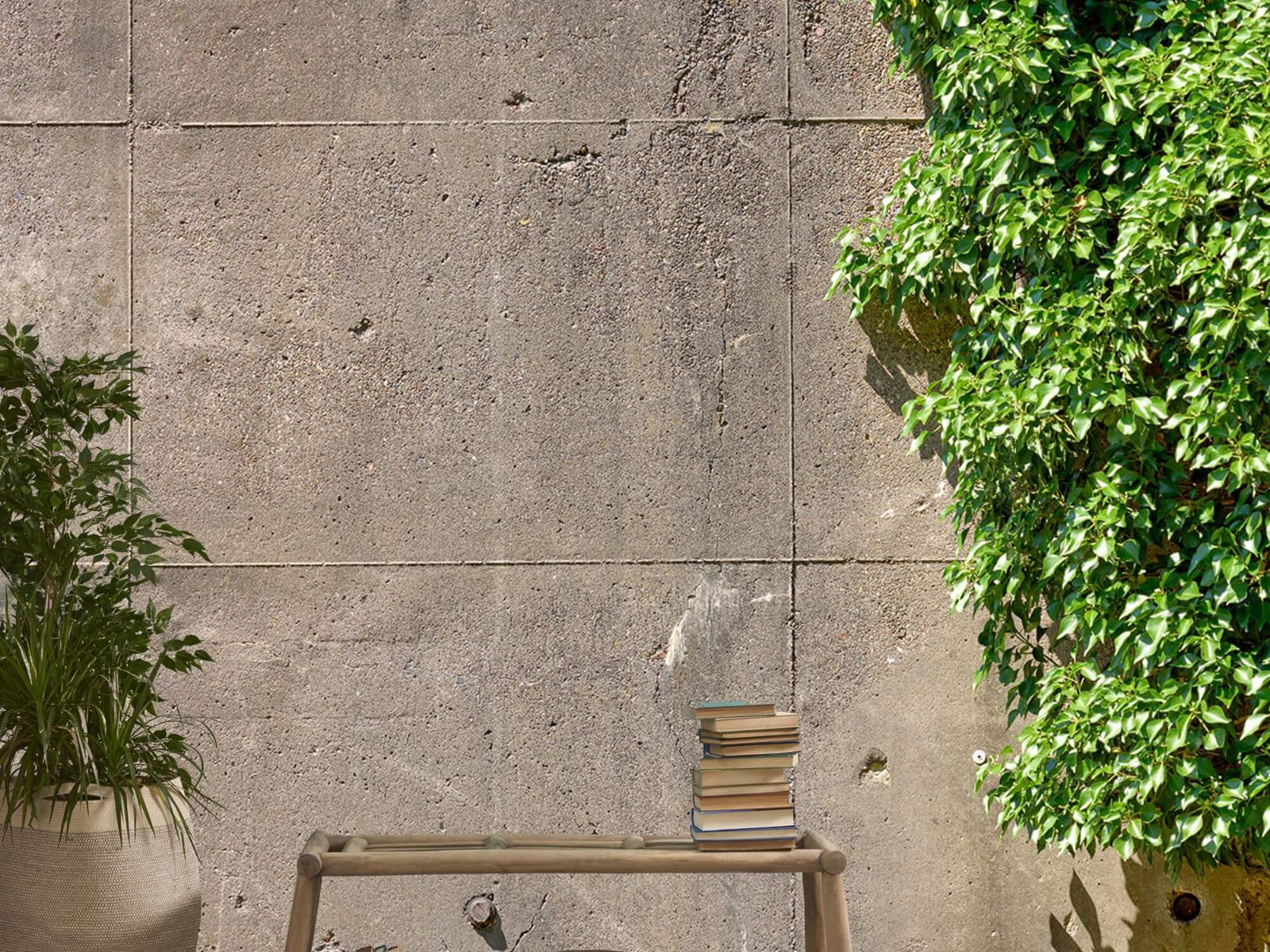 Betonlook behang - Beton met struik - Wallexclusive - Woonkamer 20