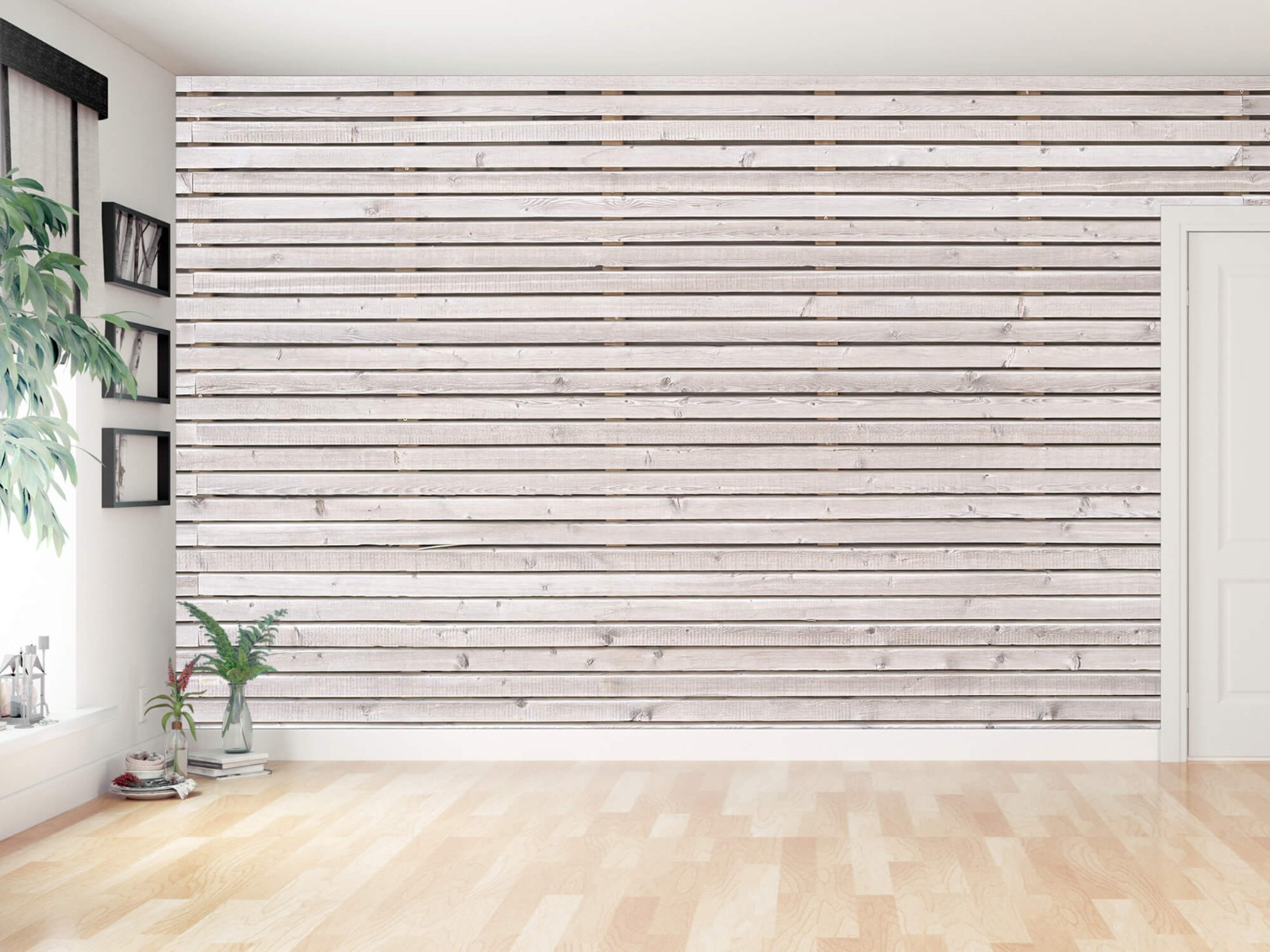Hout behang - Horizontale planken - Wallexclusive - Woonkamer 13