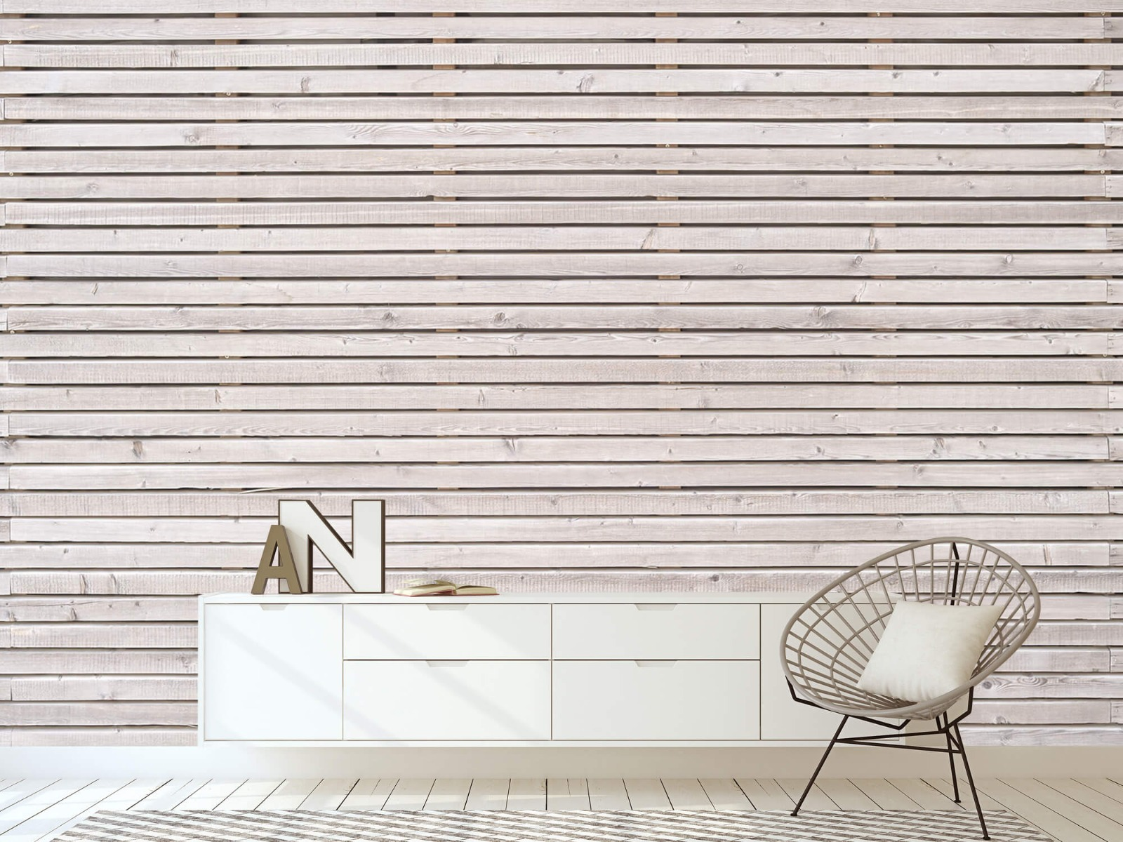 Hout behang - Horizontale planken - Wallexclusive - Woonkamer 1