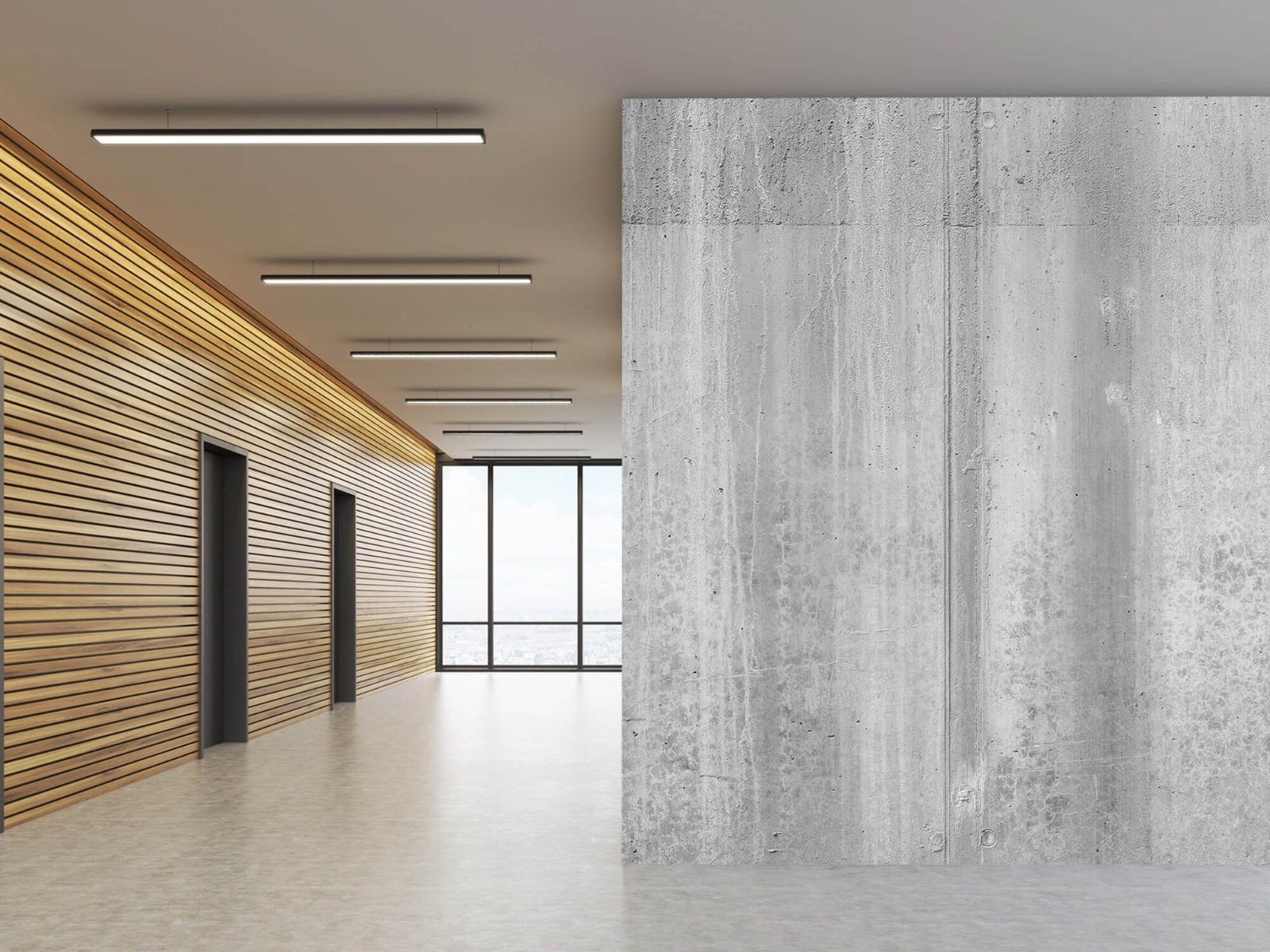Betonlook behang - Beton zwart-wit - Wallexclusive - Kantoor 9