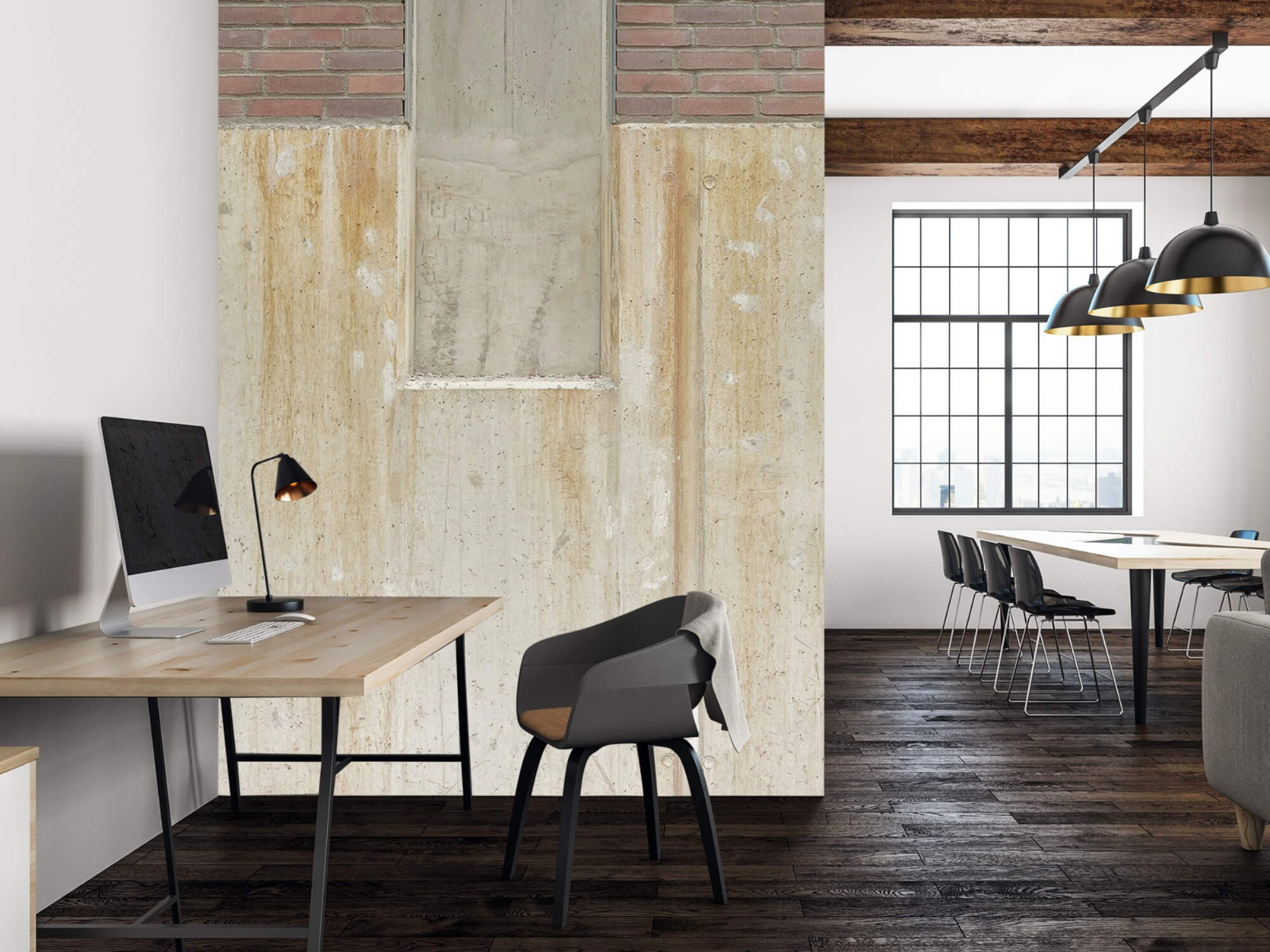 Betonlook behang - Beton en bakstenen - Wallexclusive - Woonkamer 23