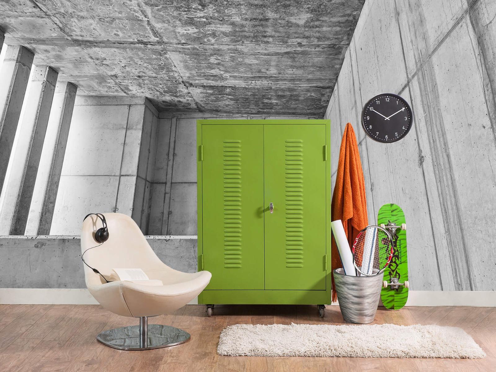 Betonlook behang - 3D beton - Kantoor 18