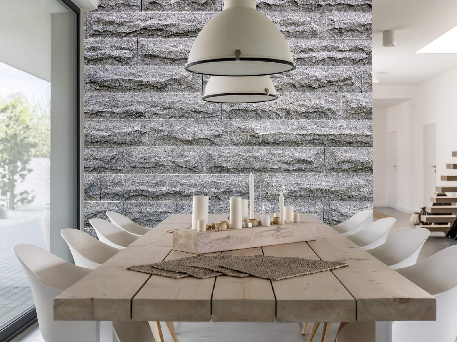 Steen behang - Grote grijze stenen - Slaapkamer 1