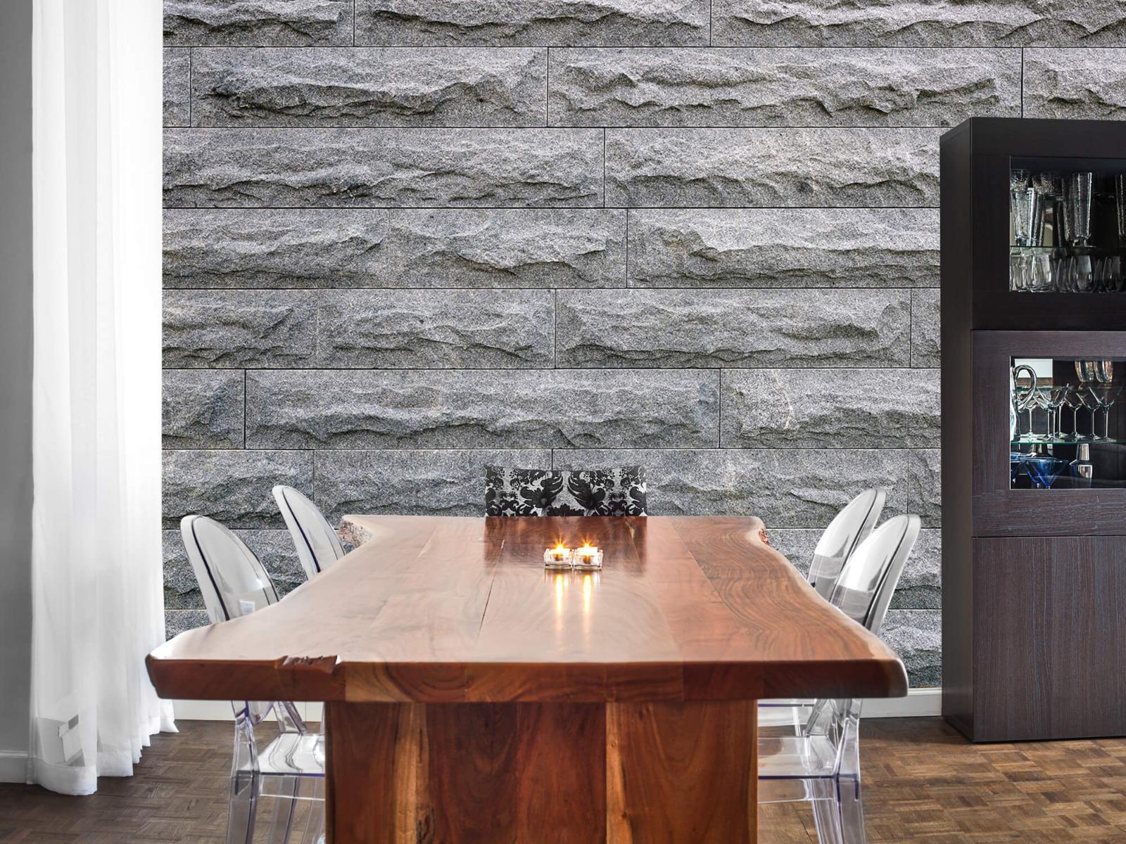 Steen behang - Grote grijze stenen - Slaapkamer 2