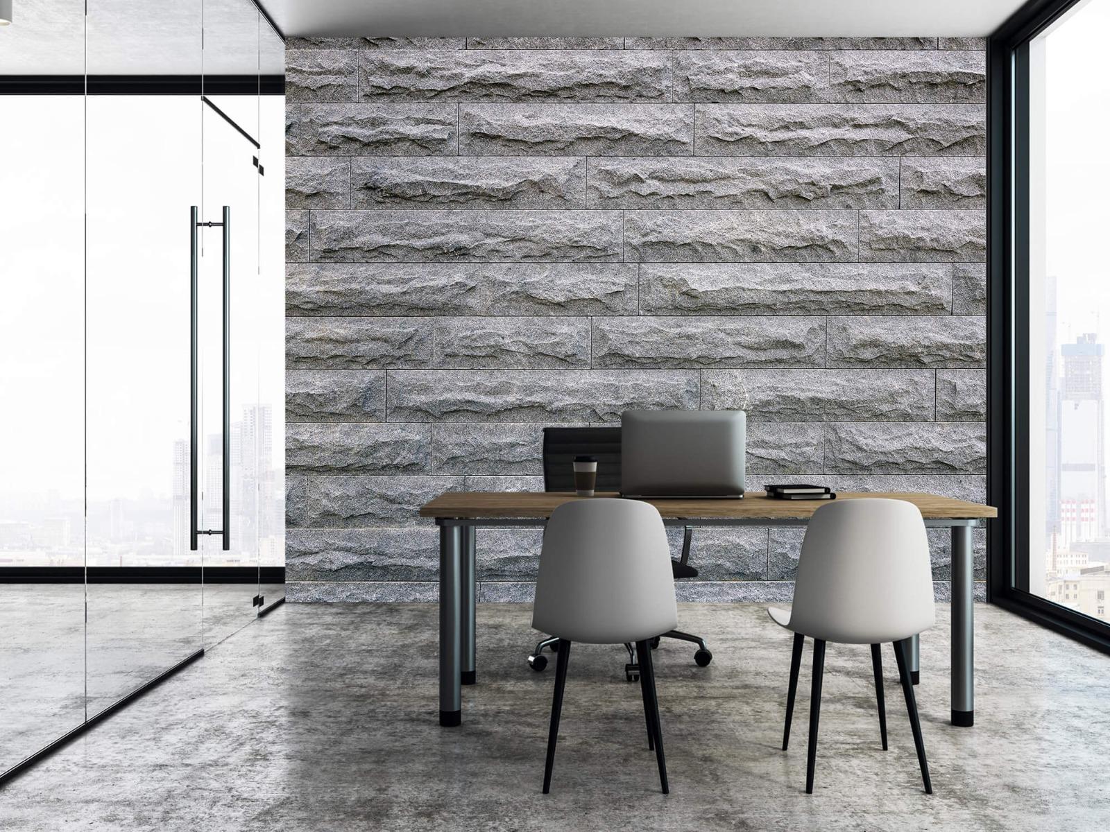 Steen behang - Grote grijze stenen - Slaapkamer 3