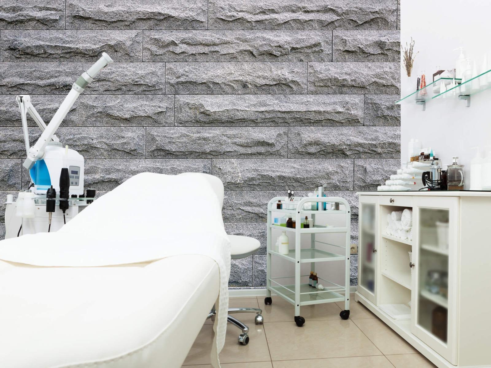 Steen behang - Grote grijze stenen - Slaapkamer 4