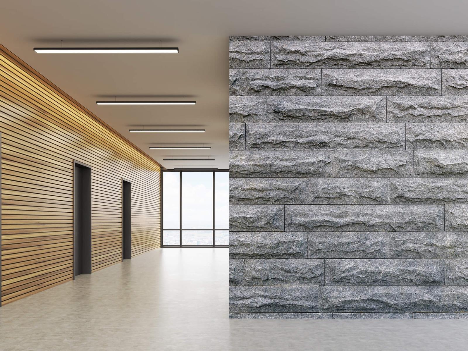 Steen behang - Grote grijze stenen - Slaapkamer 5