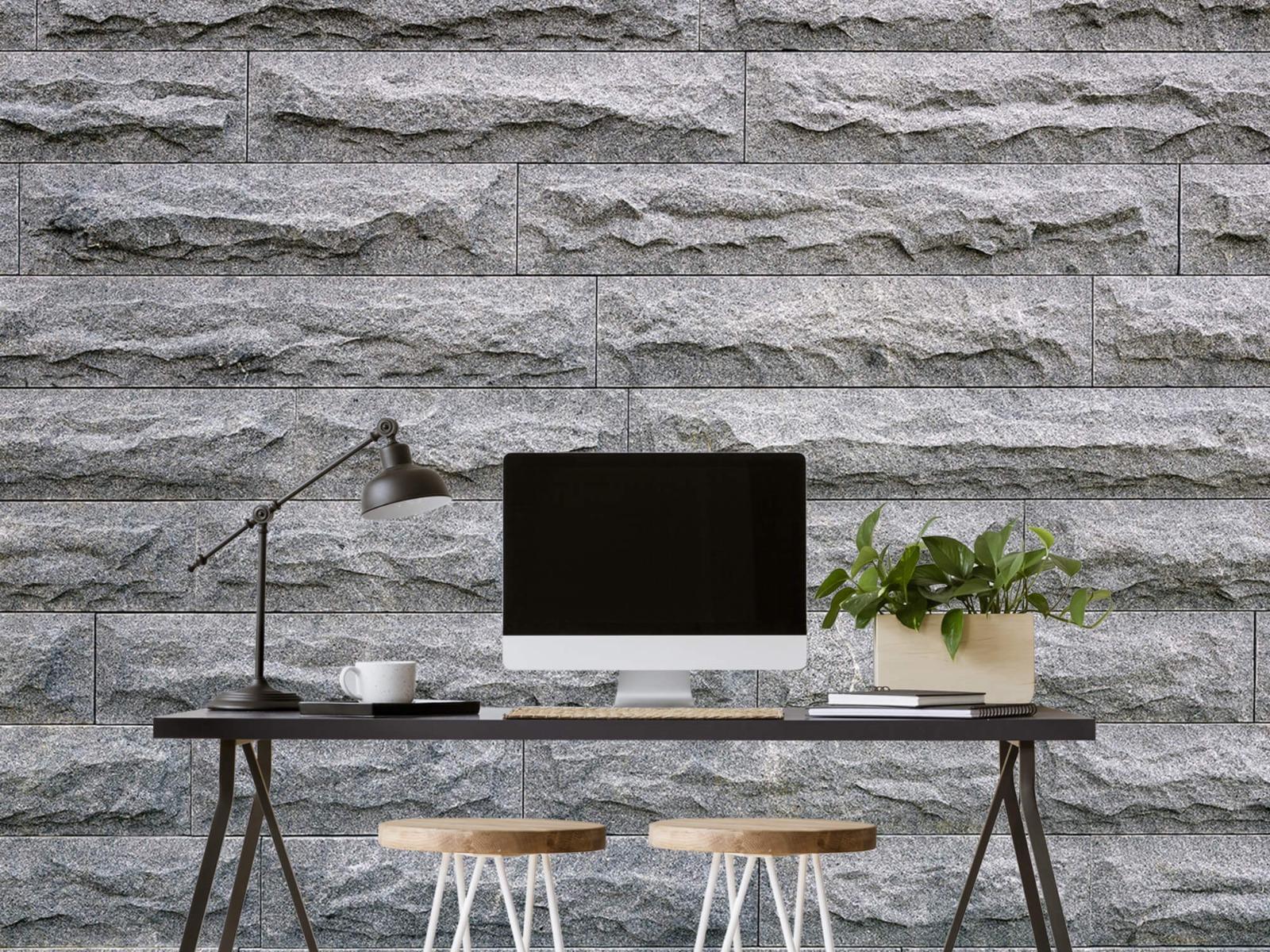 Steen behang - Grote grijze stenen - Slaapkamer 6