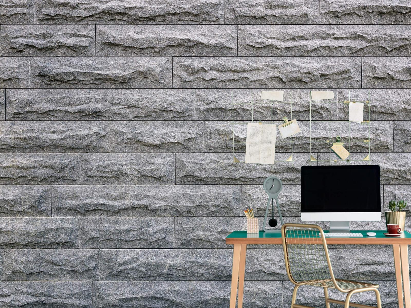 Steen behang - Grote grijze stenen - Slaapkamer 7