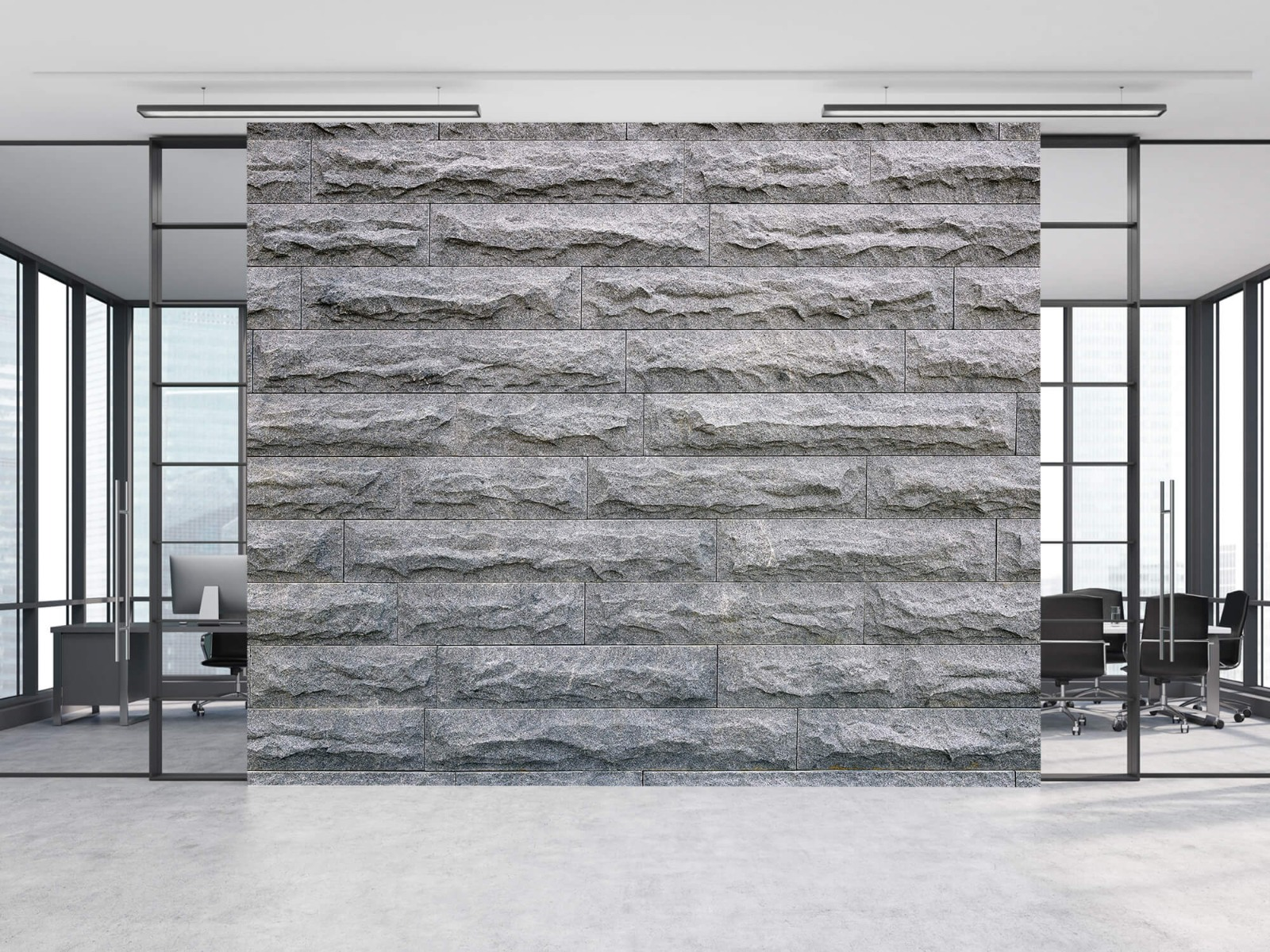 Steen behang - Grote grijze stenen - Slaapkamer 8