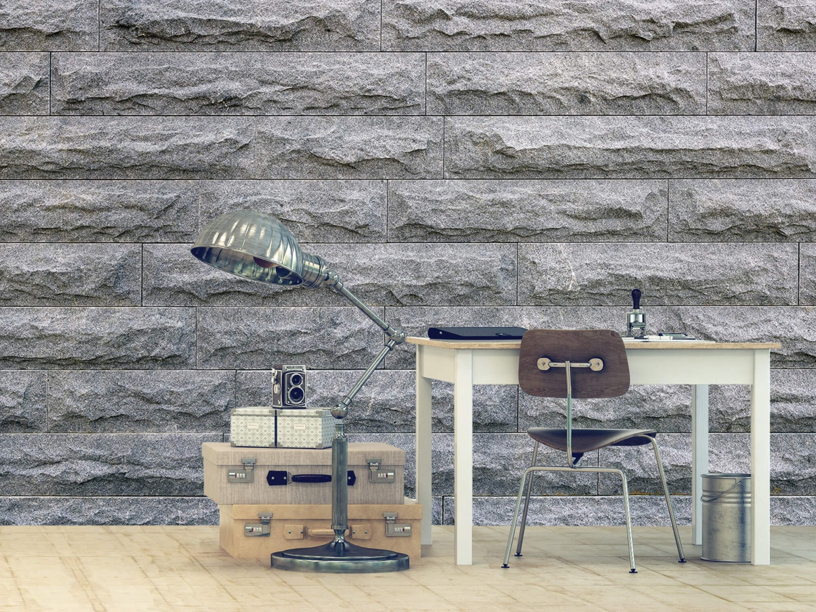 Steen behang - Grote grijze stenen - Slaapkamer 9