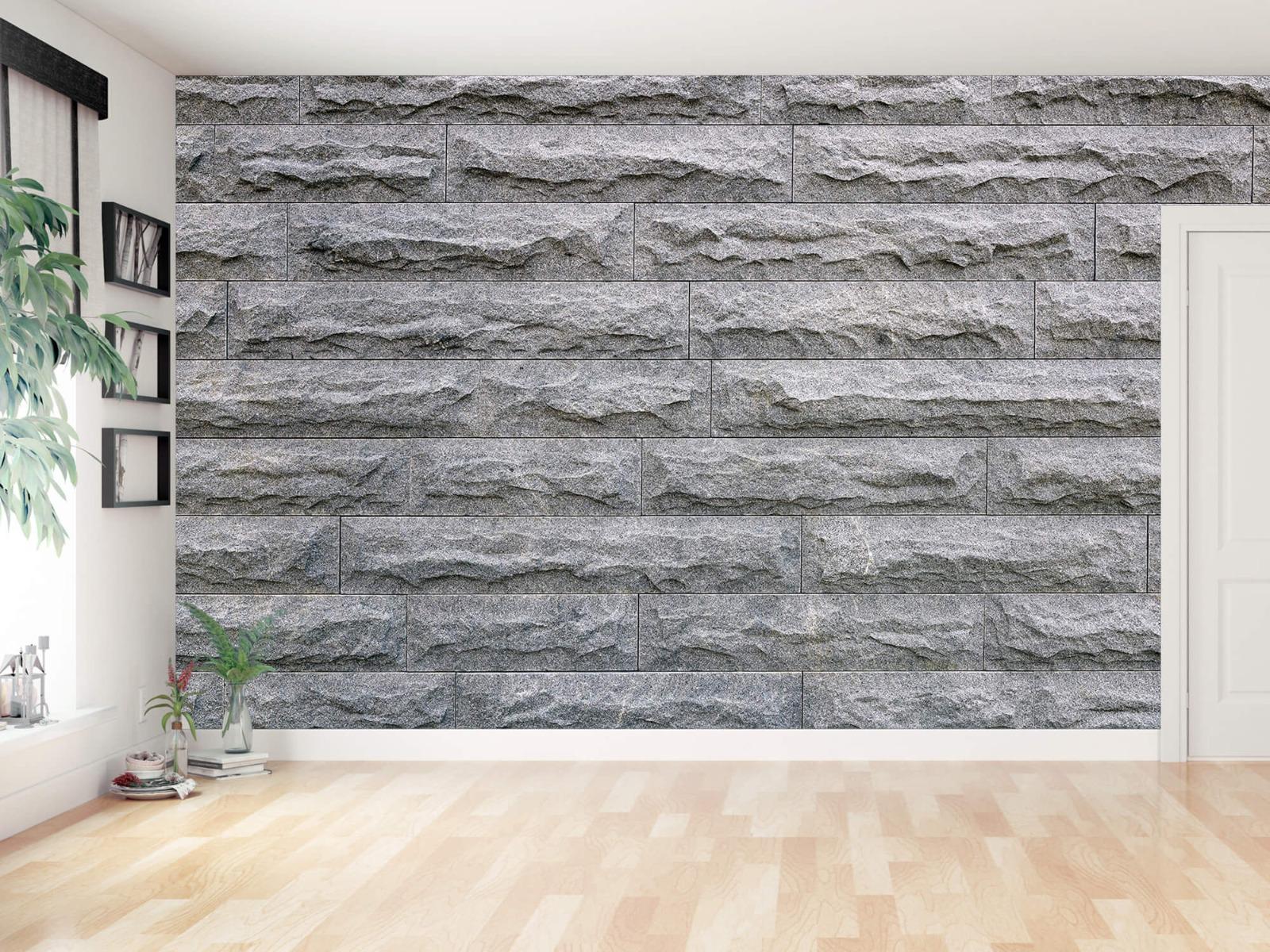 Steen behang - Grote grijze stenen - Slaapkamer 11