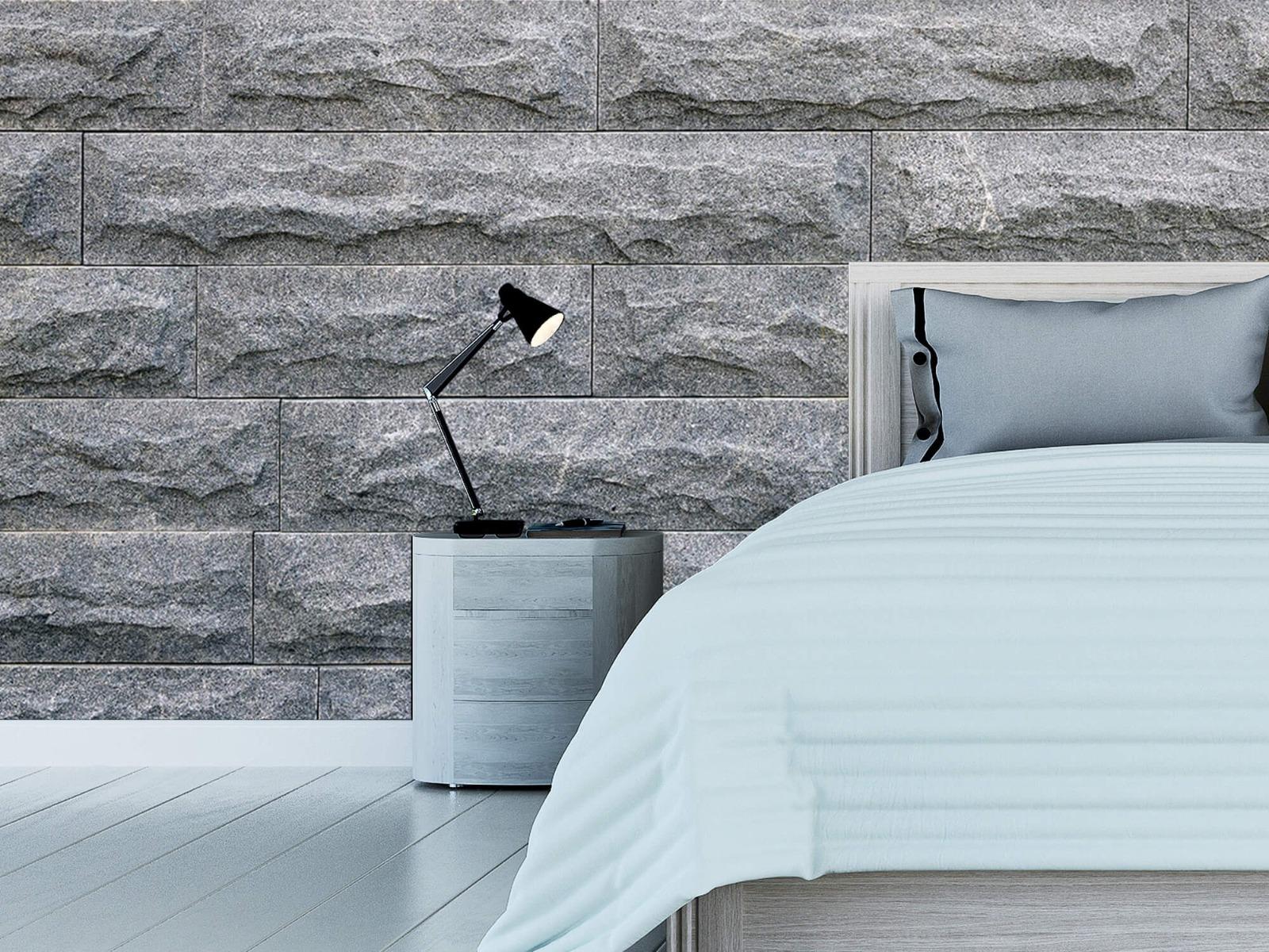 Steen behang - Grote grijze stenen - Slaapkamer 12
