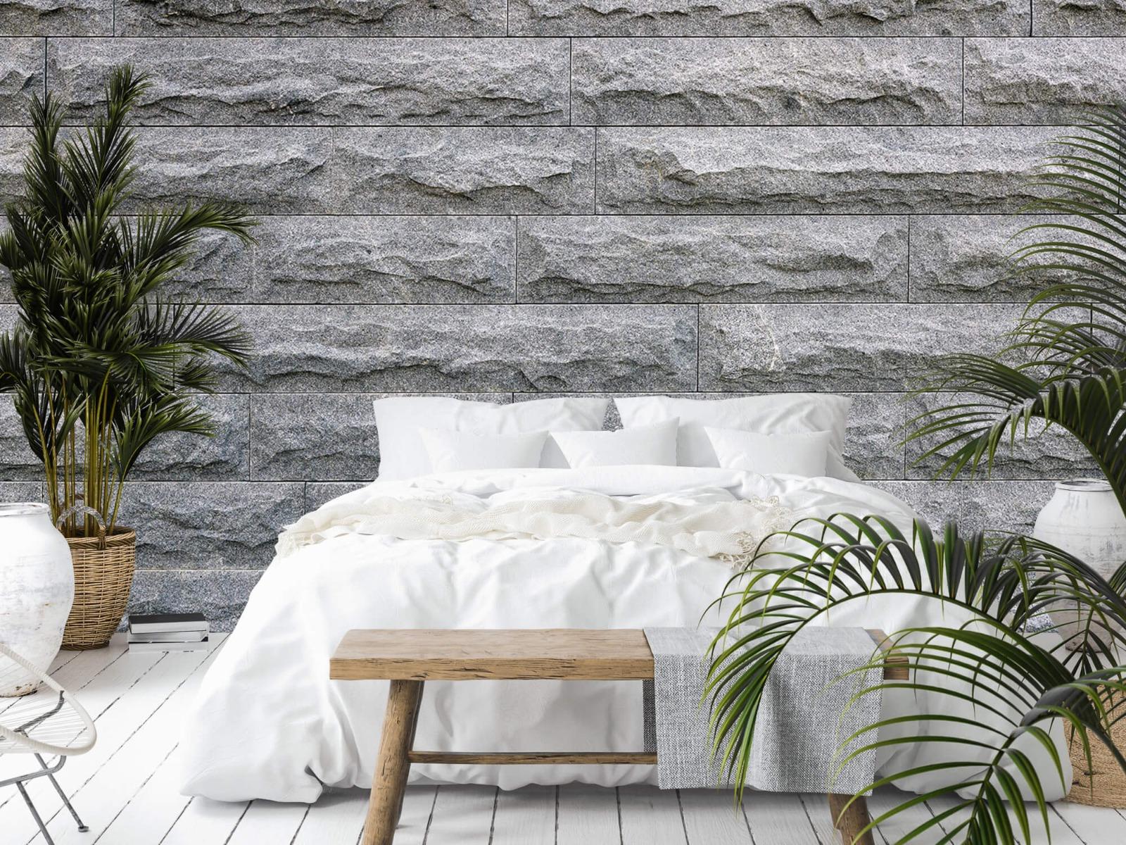 Steen behang - Grote grijze stenen - Slaapkamer 13