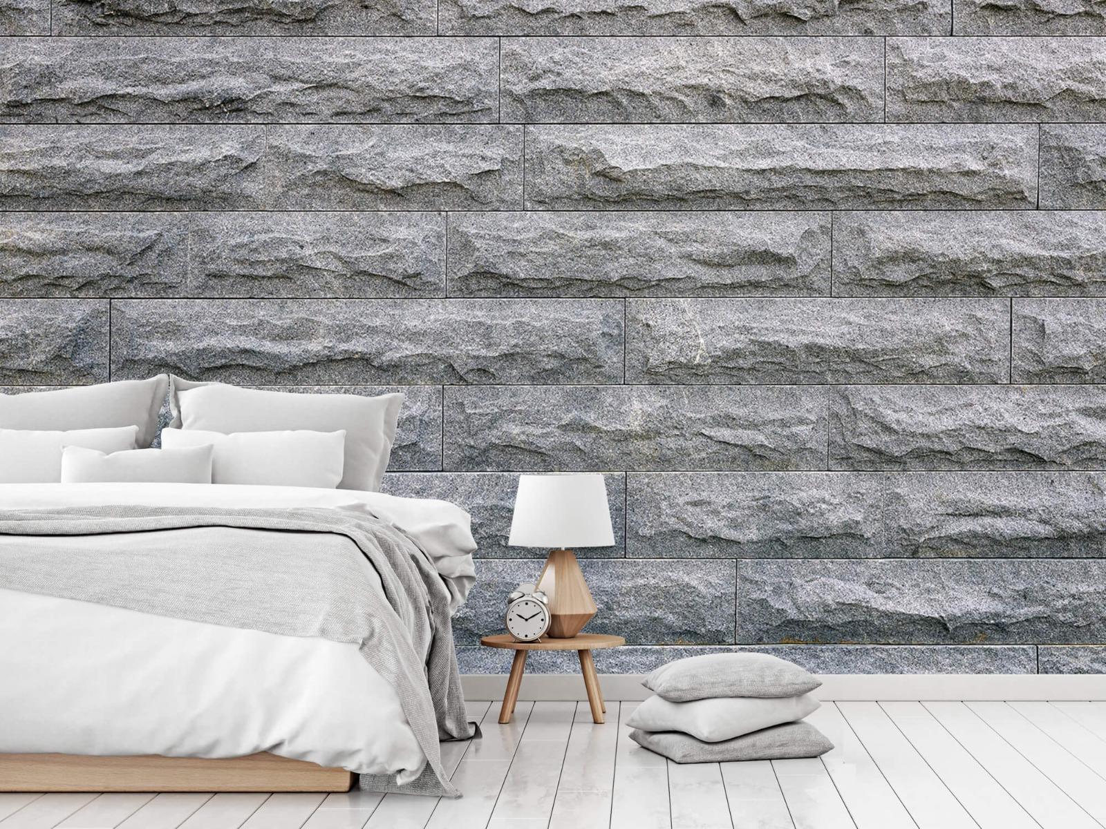 Steen behang - Grote grijze stenen - Slaapkamer 14