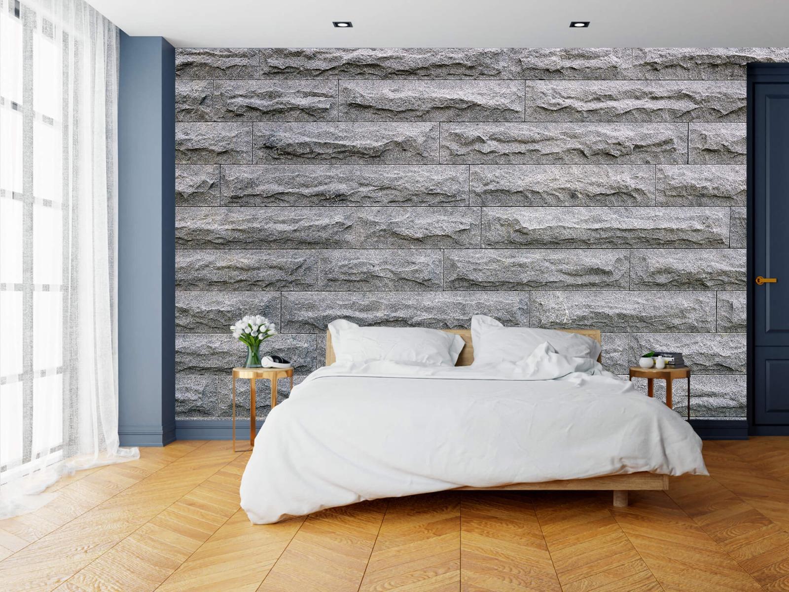 Steen behang - Grote grijze stenen - Slaapkamer 15