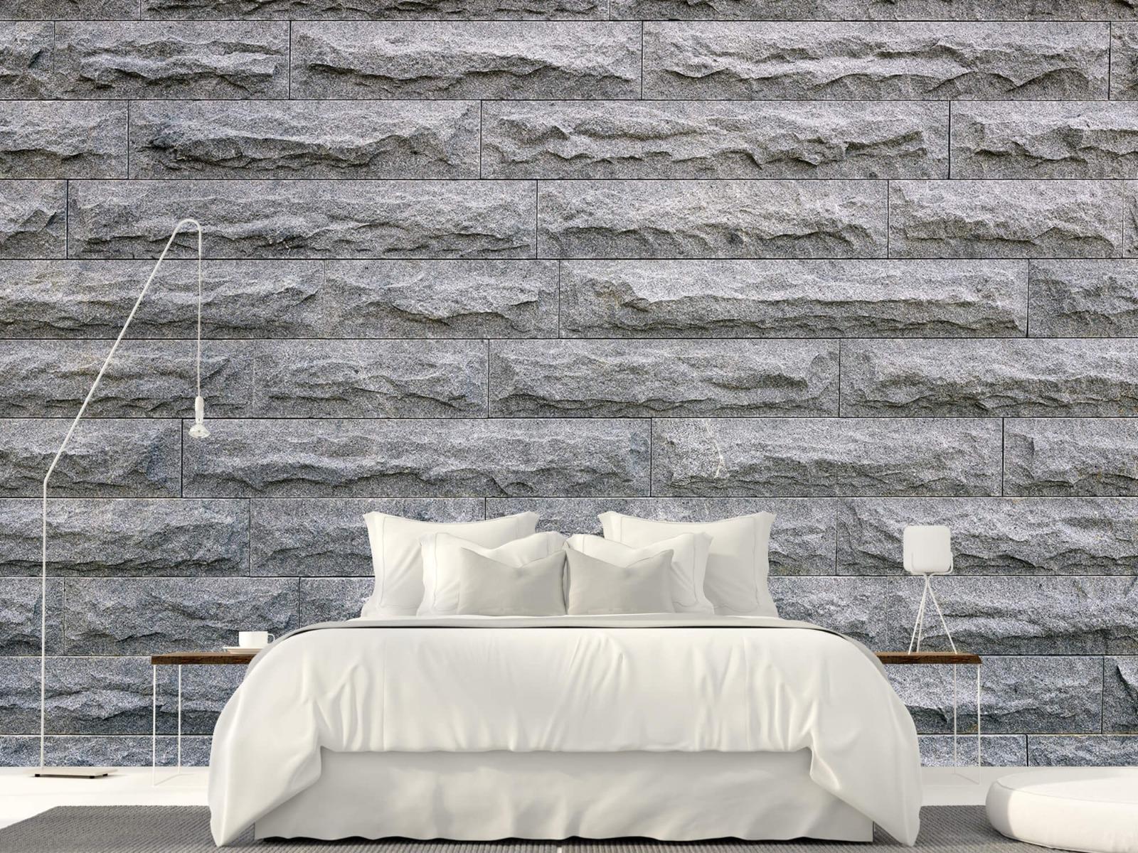 Steen behang - Grote grijze stenen - Slaapkamer 16