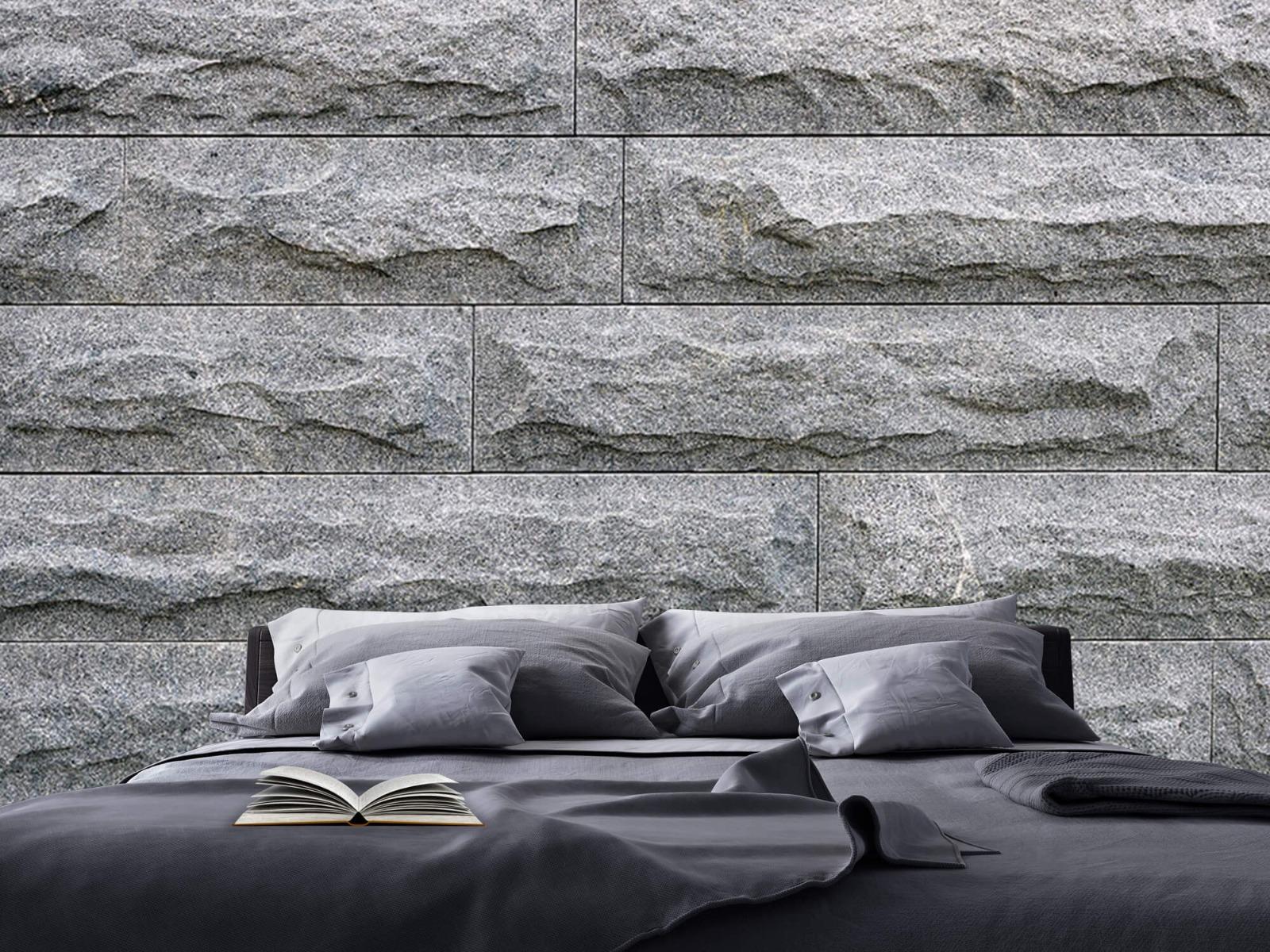 Steen behang - Grote grijze stenen - Slaapkamer 17