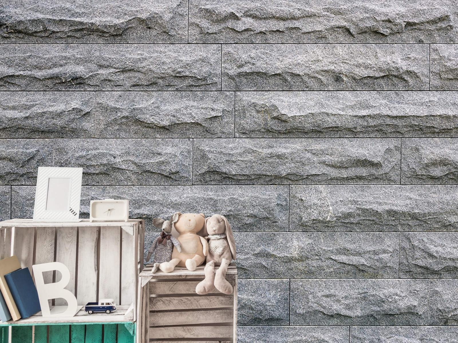 Steen behang - Grote grijze stenen - Slaapkamer 19