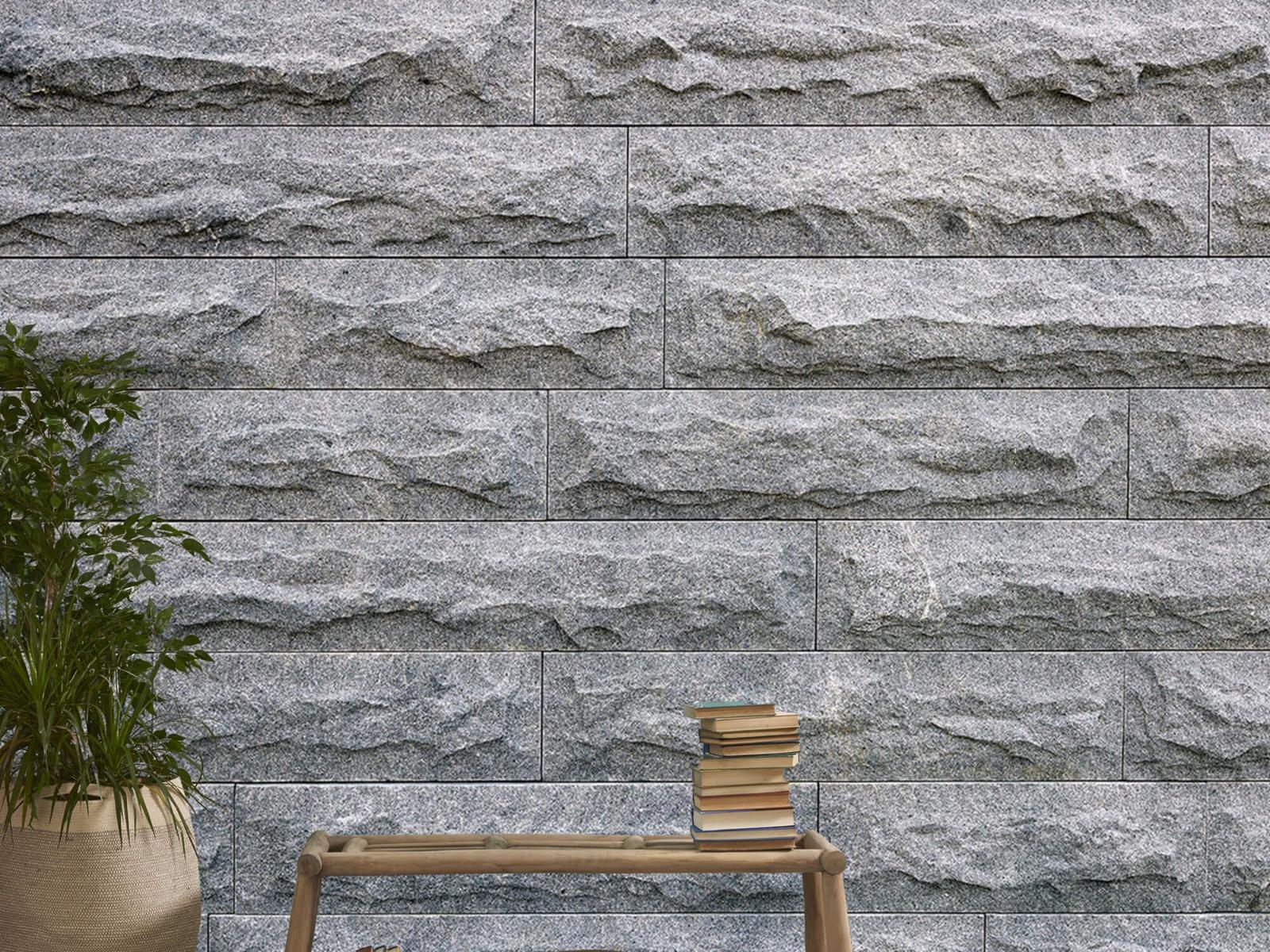 Steen behang - Grote grijze stenen - Slaapkamer 20
