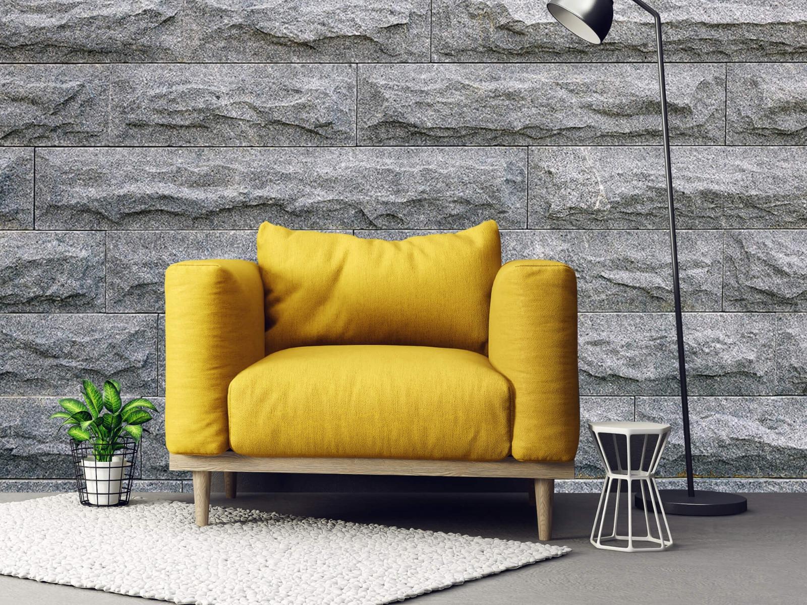 Steen behang - Grote grijze stenen - Slaapkamer 21