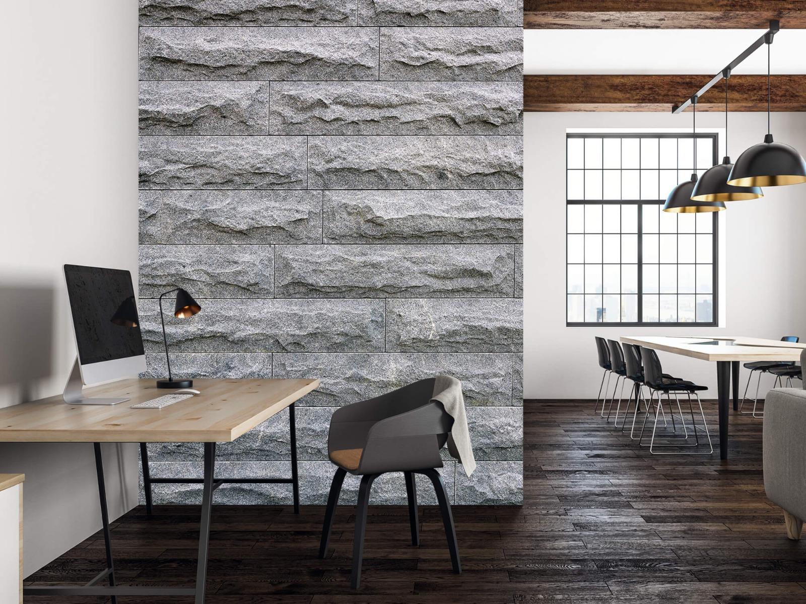 Steen behang - Grote grijze stenen - Slaapkamer 22