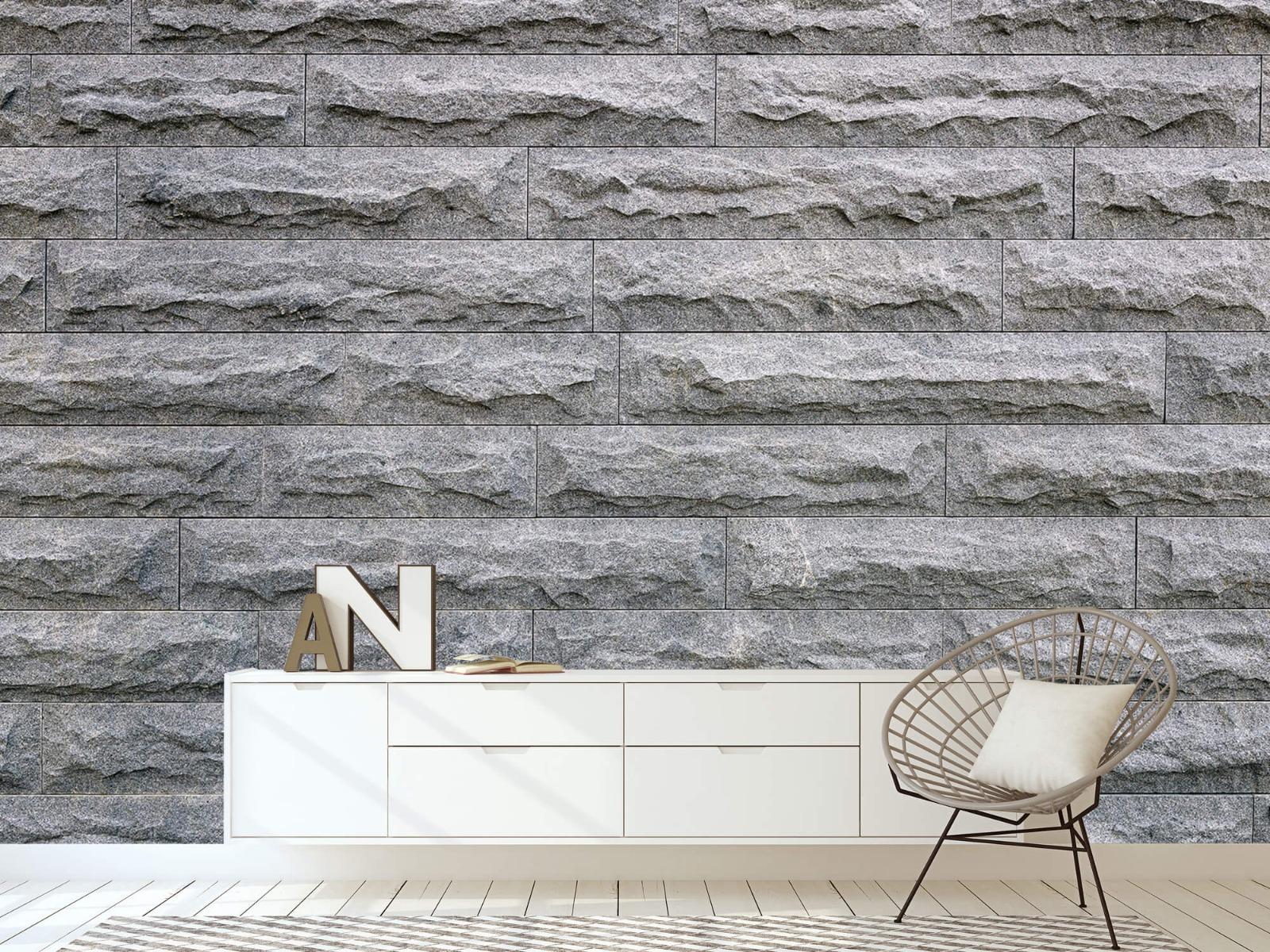 Steen behang - Grote grijze stenen - Slaapkamer 23
