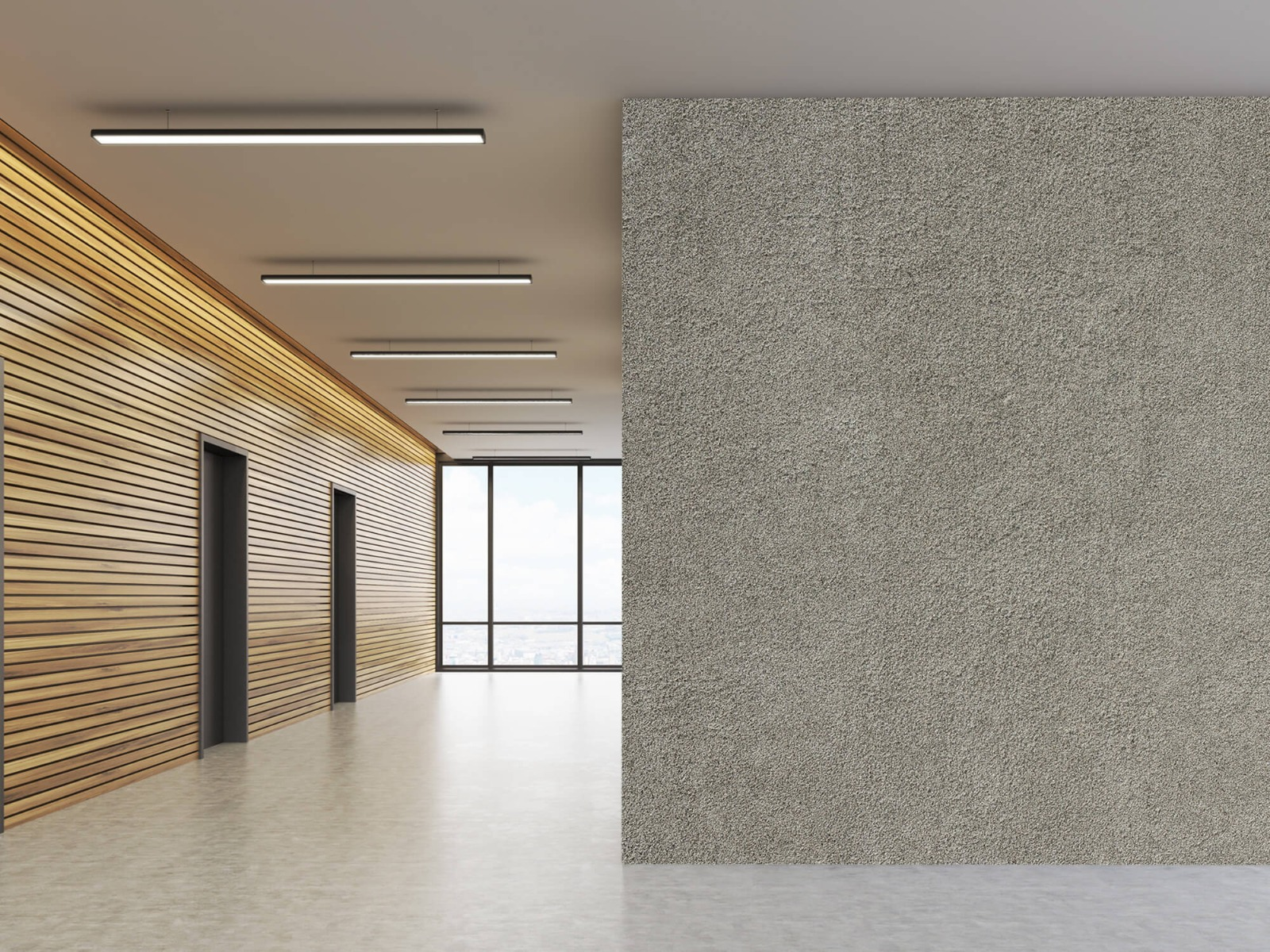 Betonlook behang - Betonnen muur met fijne steentjes - Kantoor 5