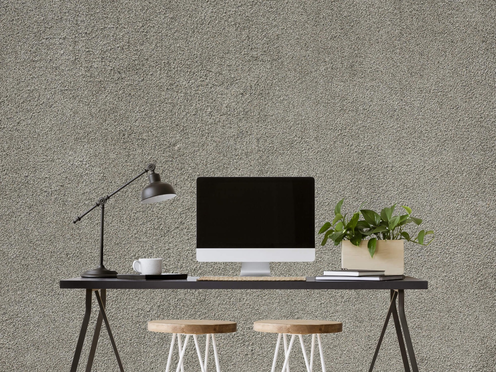 Betonlook behang - Betonnen muur met fijne steentjes - Kantoor 6