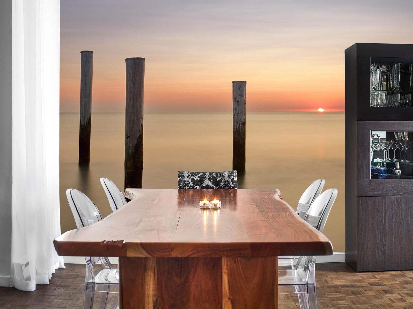 Zeeën en Oceanen - Drie houten palen - Slaapkamer 2