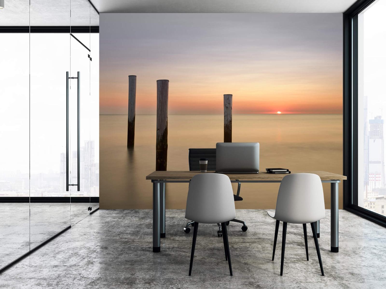 Zeeën en Oceanen - Drie houten palen - Slaapkamer 3