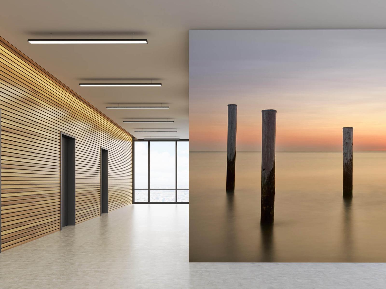 Zeeën en Oceanen - Drie houten palen - Slaapkamer 5