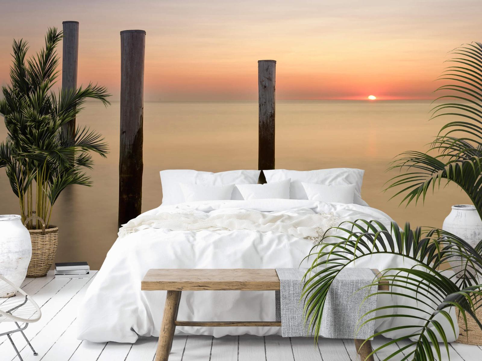 Zeeën en Oceanen - Drie houten palen - Slaapkamer 13