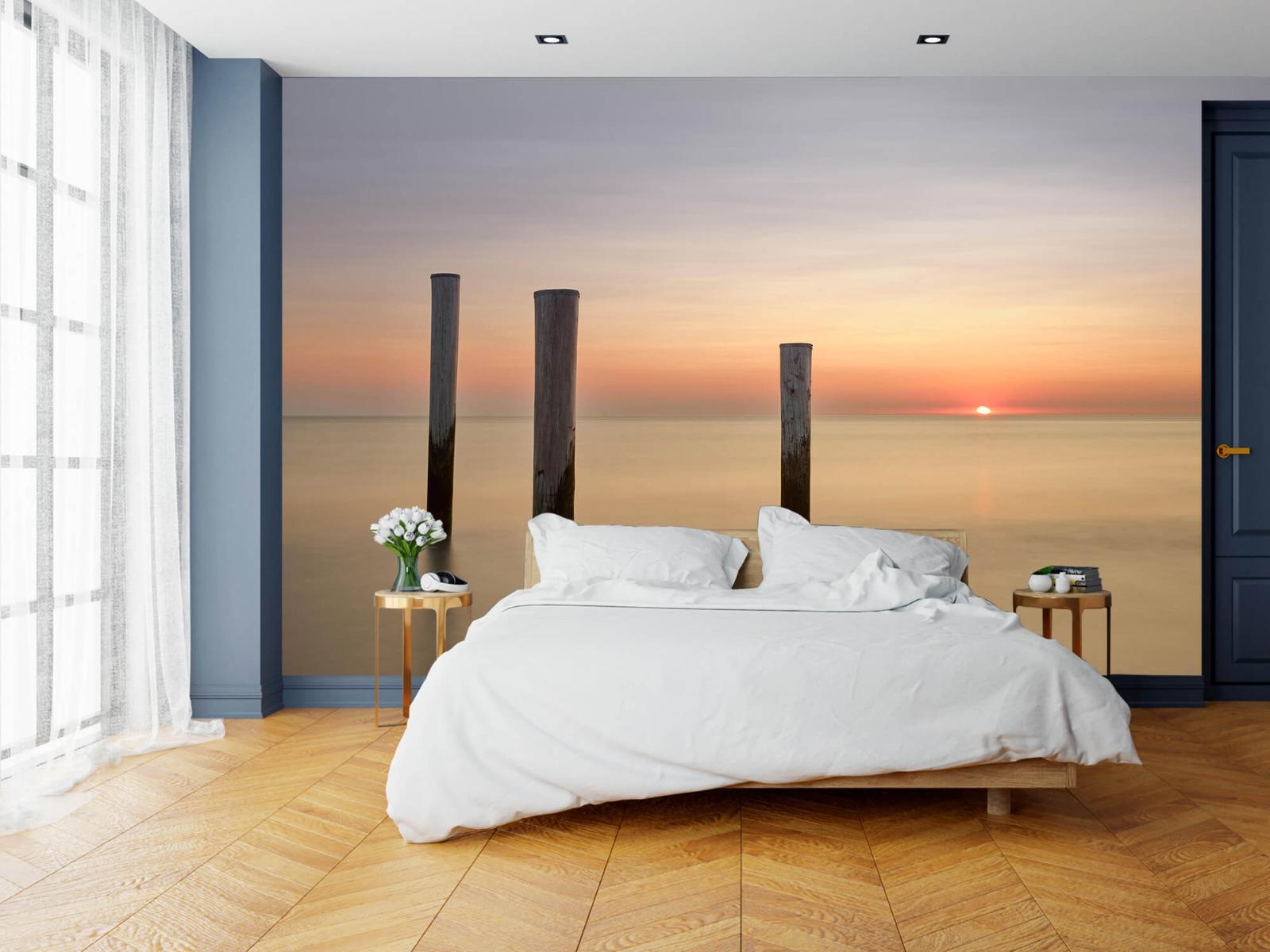 Zeeën en Oceanen - Drie houten palen - Slaapkamer 15