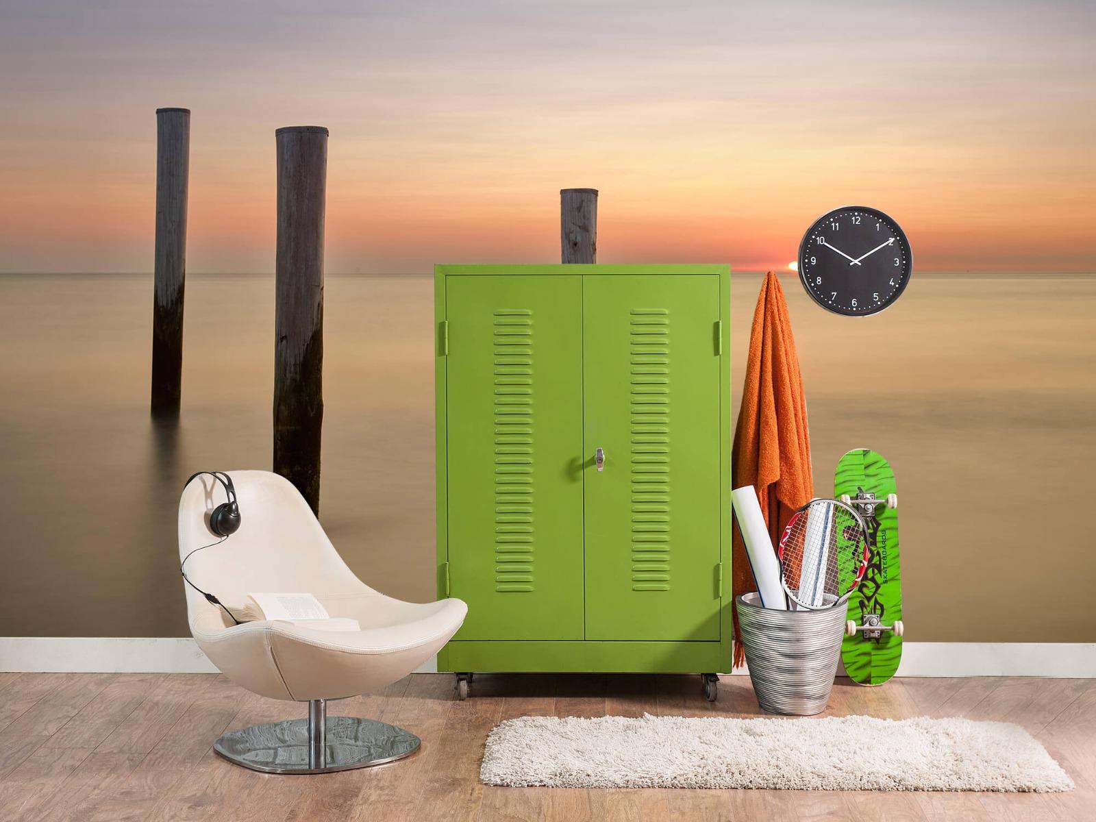 Zeeën en Oceanen - Drie houten palen - Slaapkamer 18