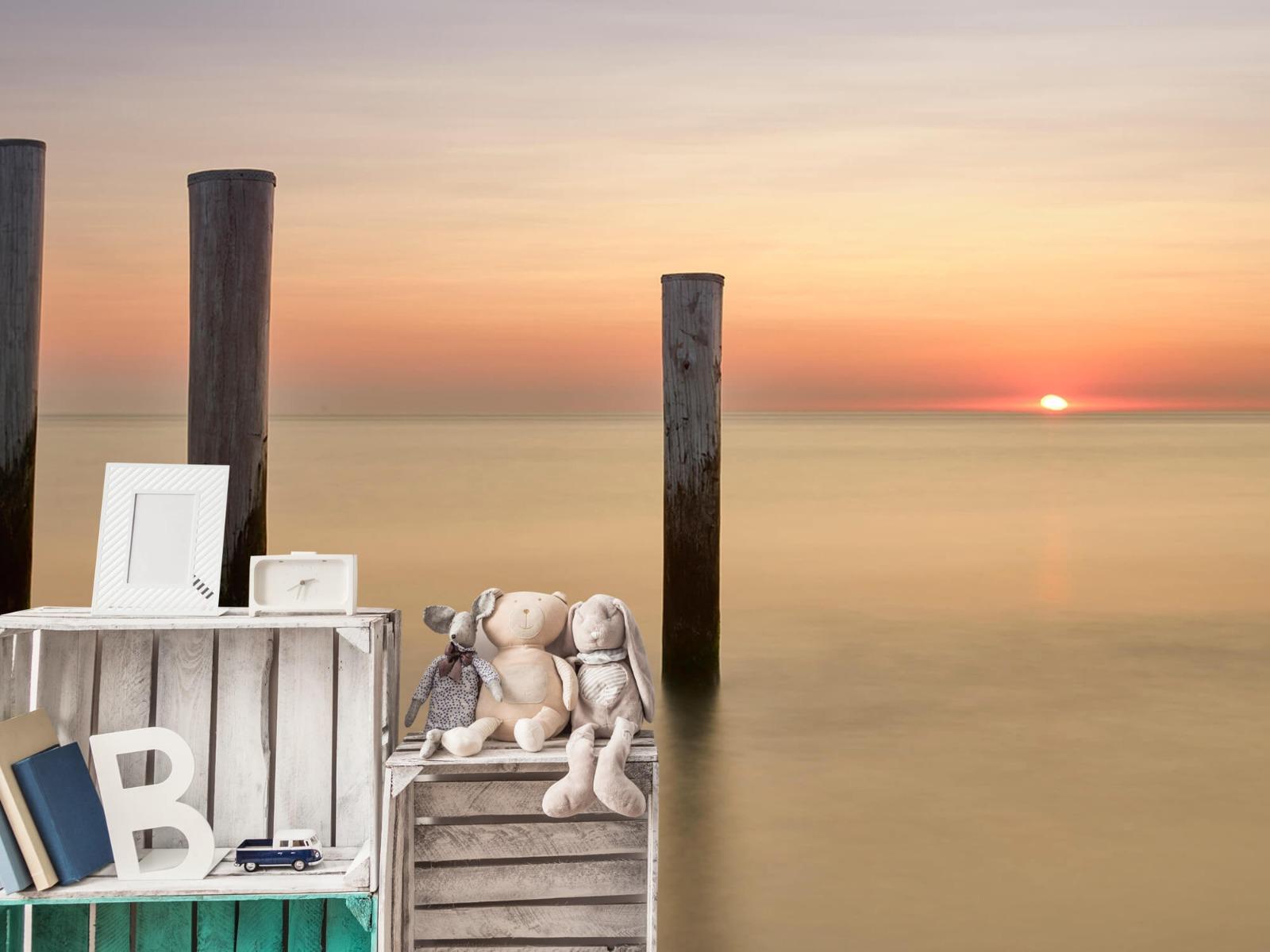 Zeeën en Oceanen - Drie houten palen - Slaapkamer 19