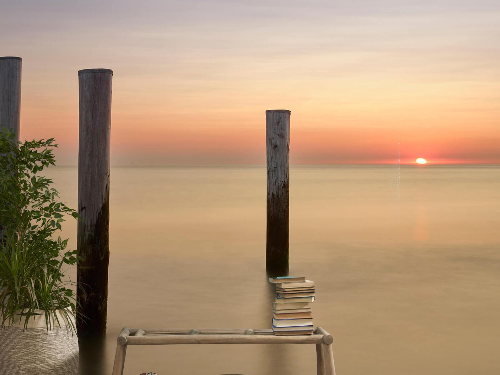 Zeeën en Oceanen - Drie houten palen - Slaapkamer 20