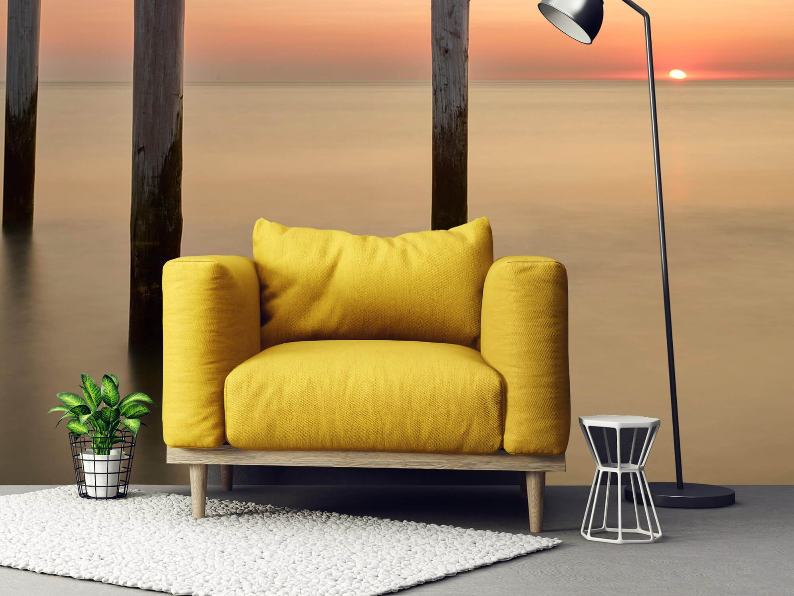 Zeeën en Oceanen - Drie houten palen - Slaapkamer 21