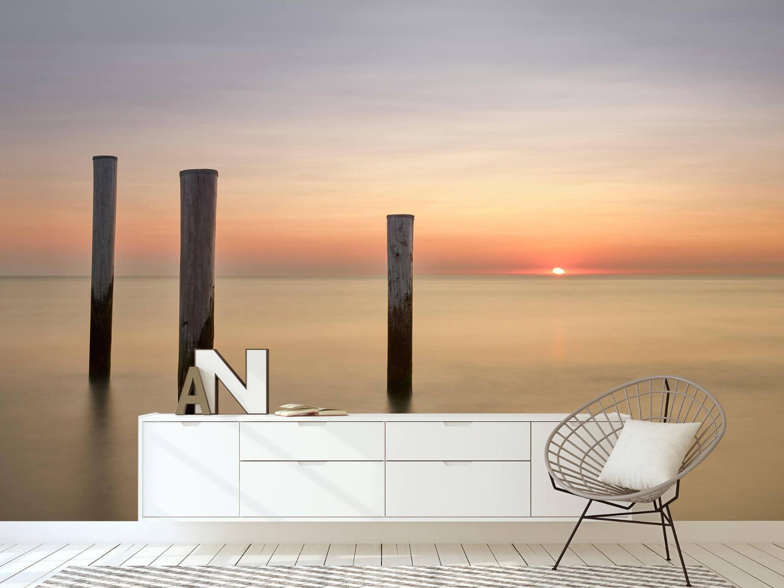 Zeeën en Oceanen - Drie houten palen - Slaapkamer 23