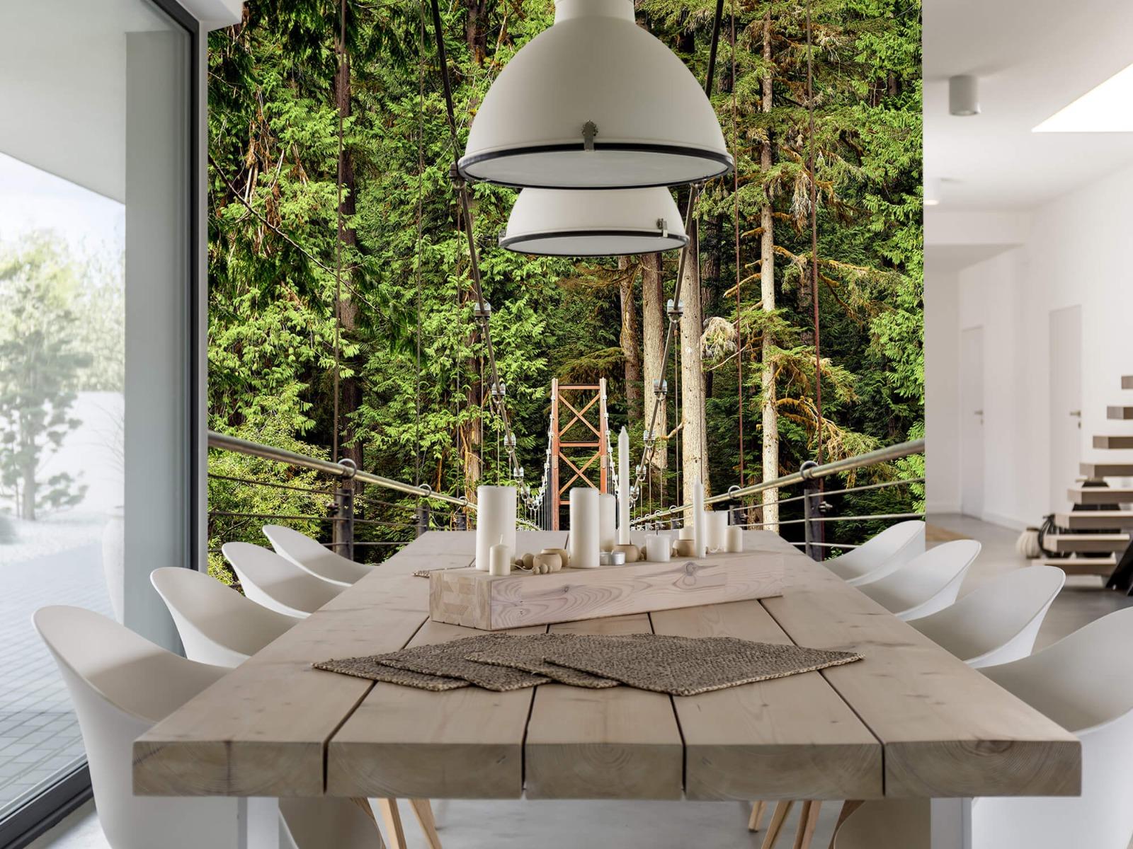 Bos behang - Brug door het bos - Slaapkamer 1