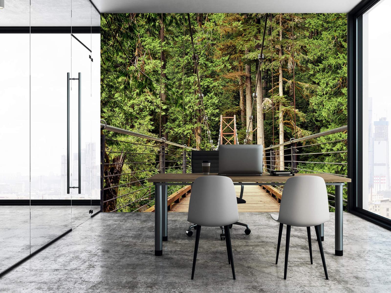 Bos behang - Brug door het bos - Slaapkamer 3