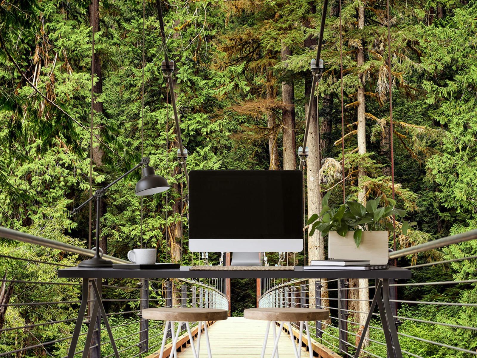 Bos behang - Brug door het bos - Slaapkamer 6