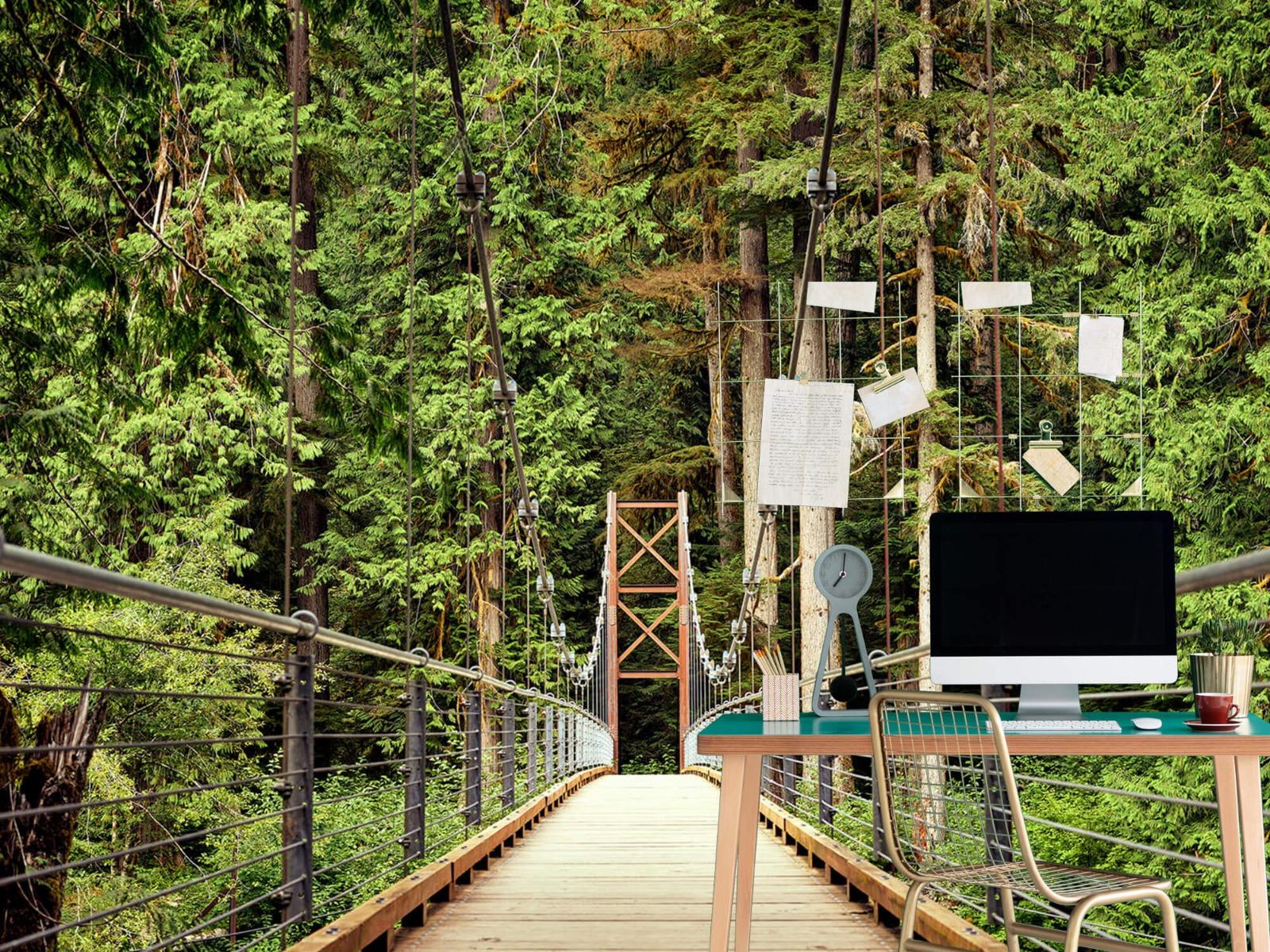 Bos behang - Brug door het bos - Slaapkamer 7