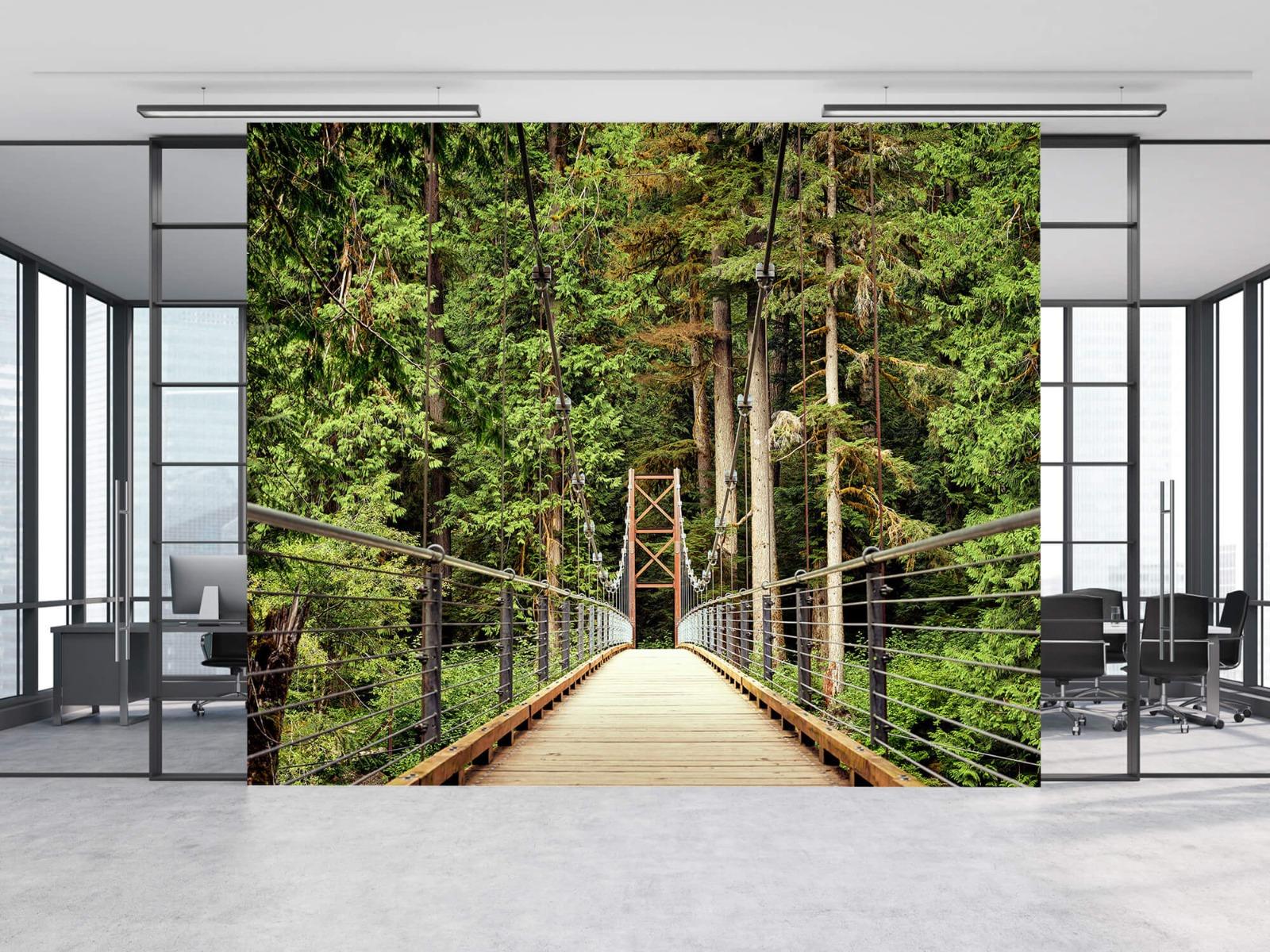 Bos behang - Brug door het bos - Slaapkamer 8