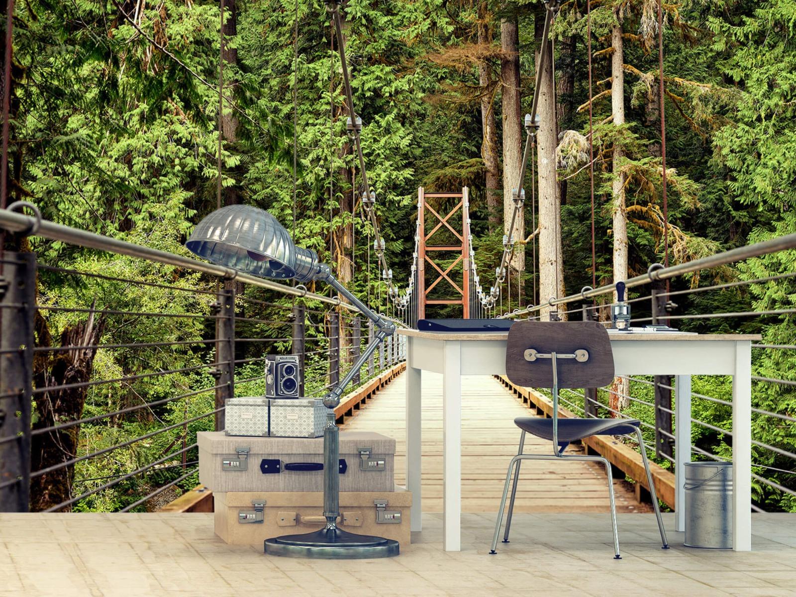 Bos behang - Brug door het bos - Slaapkamer 9