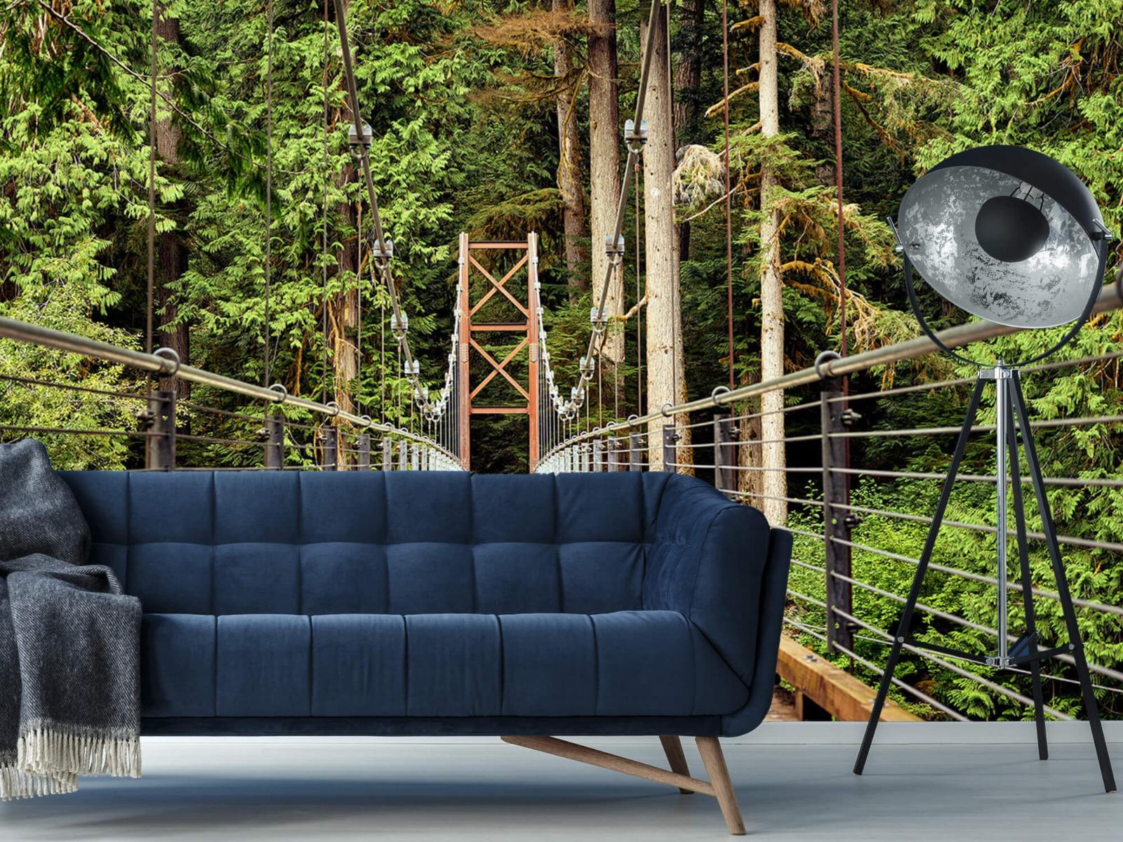 Bos behang - Brug door het bos - Slaapkamer 10